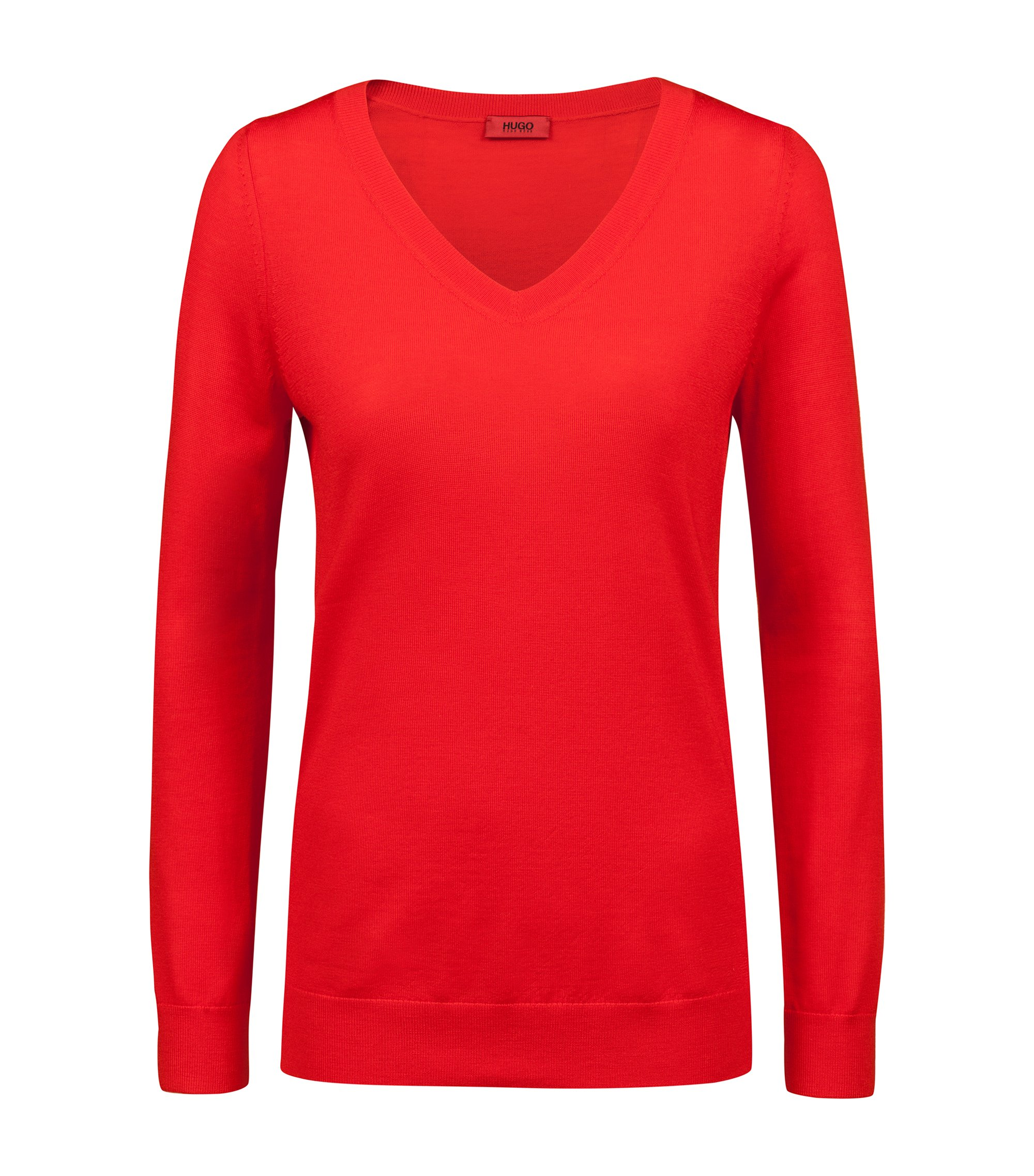 V-neck sweater in extra-fine merino wool, Red