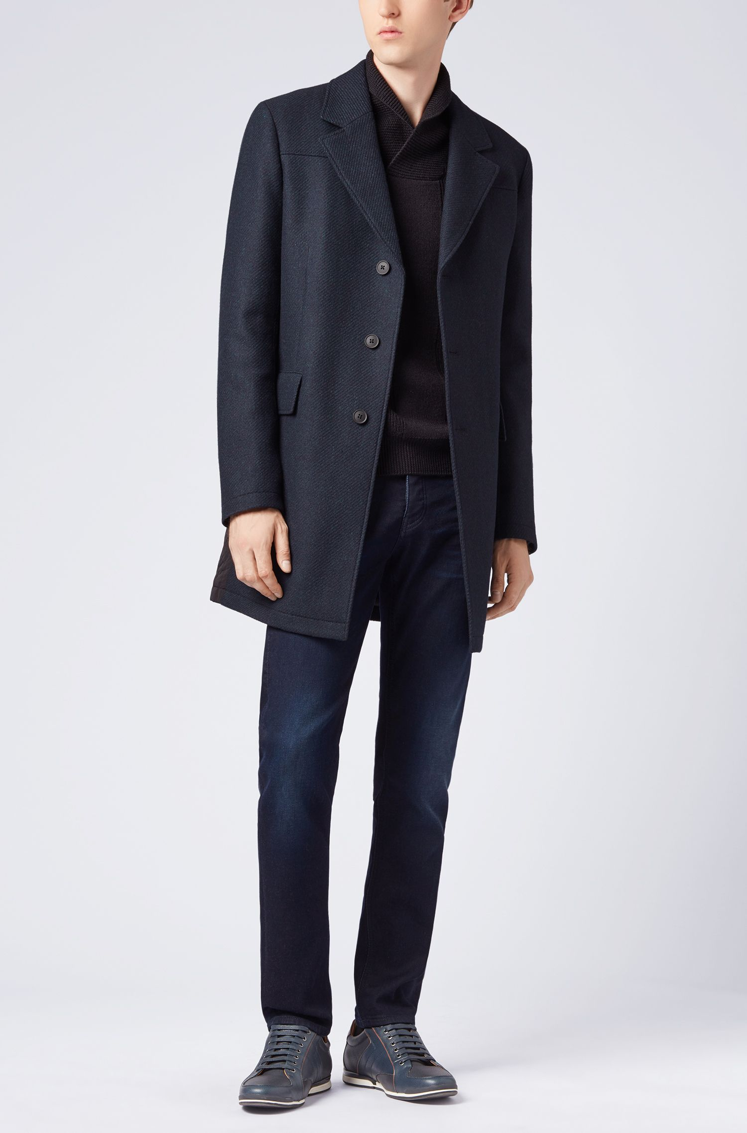 Slim-fit coat in a textured Italian-wool blend