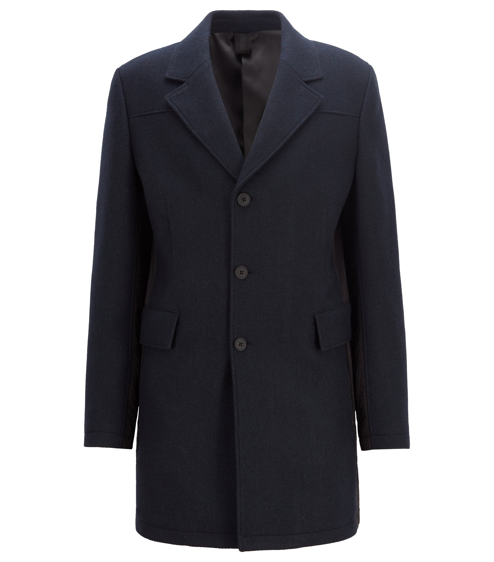 Slim-fit coat in a textured Italian-wool blend, Dark Blue