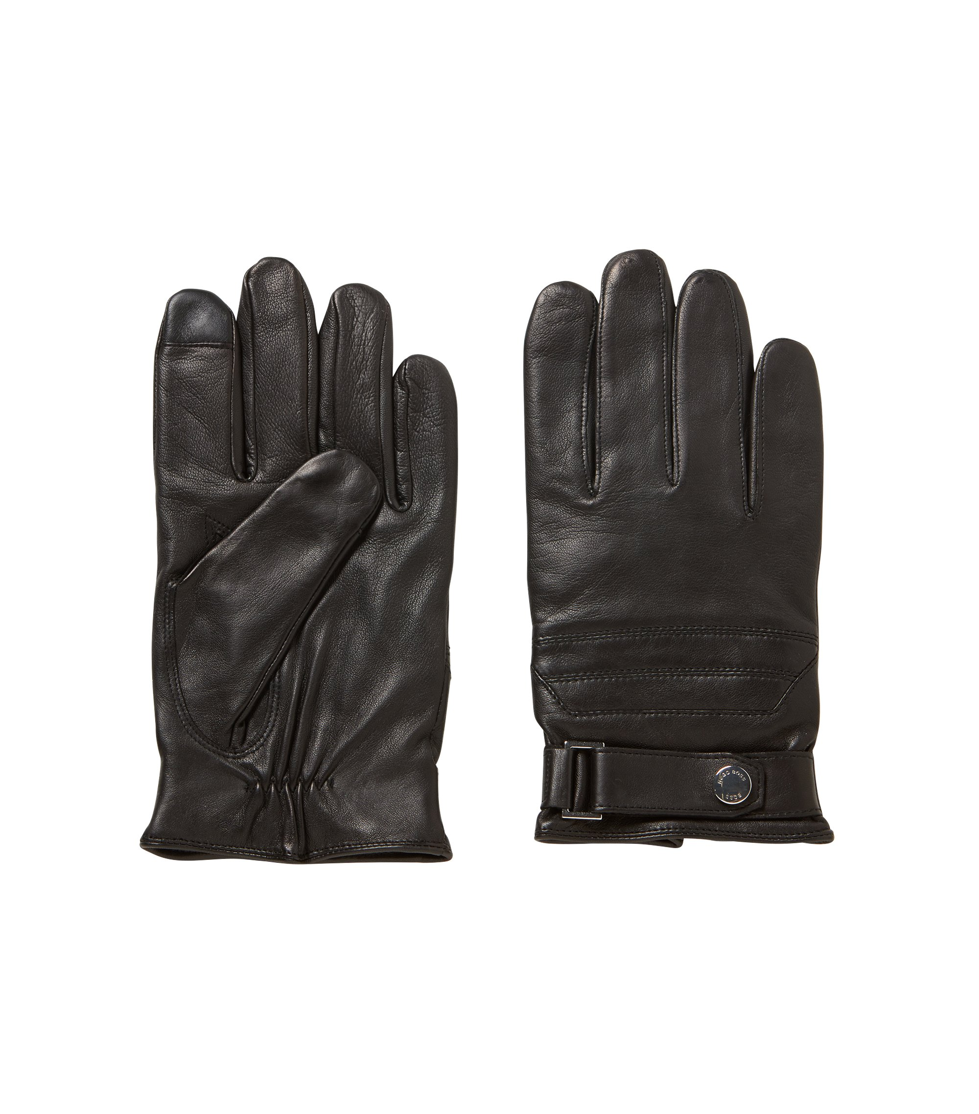 Nappa-lambskin gloves with Touch Tech tips, Black