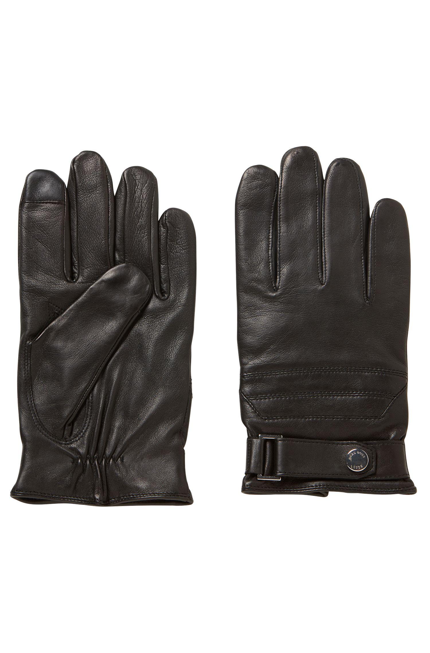 Gants en cuir d'agneau nappa avec la technologie Touch Tech au bout des doigts, Noir