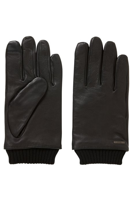 Touchscreen leather gloves with knitted cuffs, Black