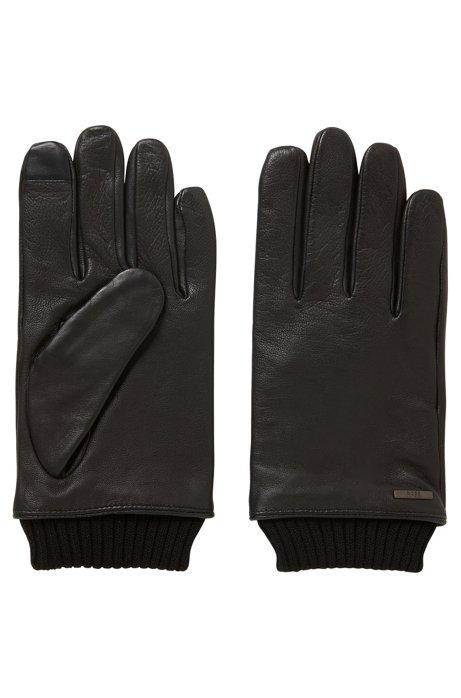 Gants en cuir pour écran tactile, à poignets en maille, Noir