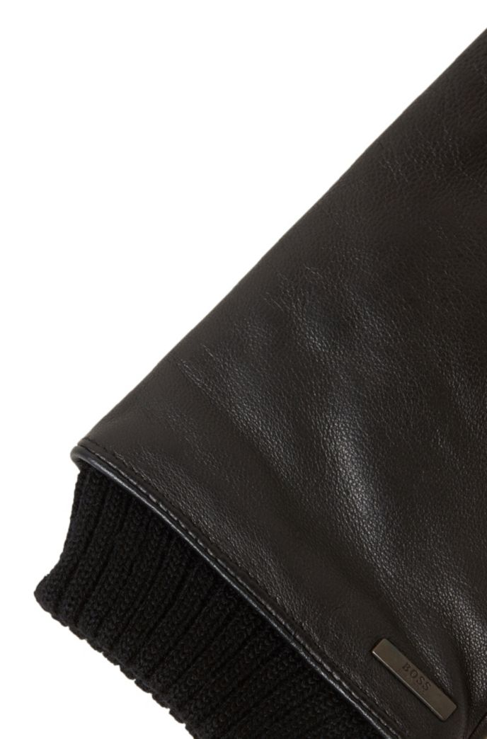 Touchscreen leather gloves with knitted cuffs