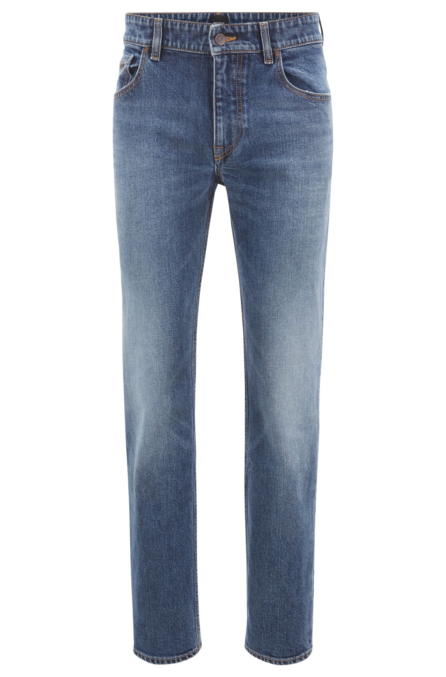 Jean Relaxed Fit en denim stretch flammé bleu moyen, Bleu