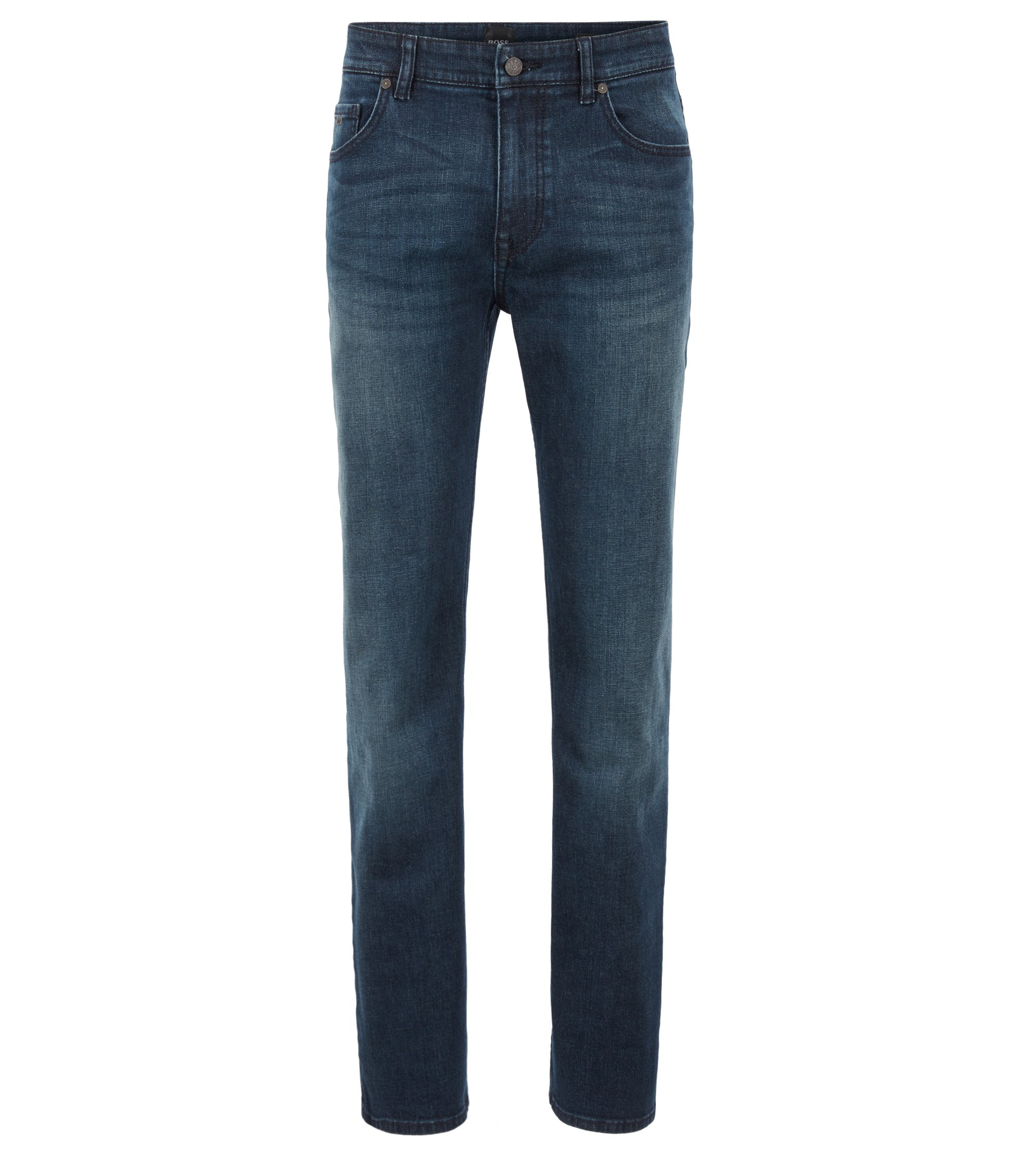 Relaxed-fit jeans in green-cast comfort-stretch denim, Dark Blue