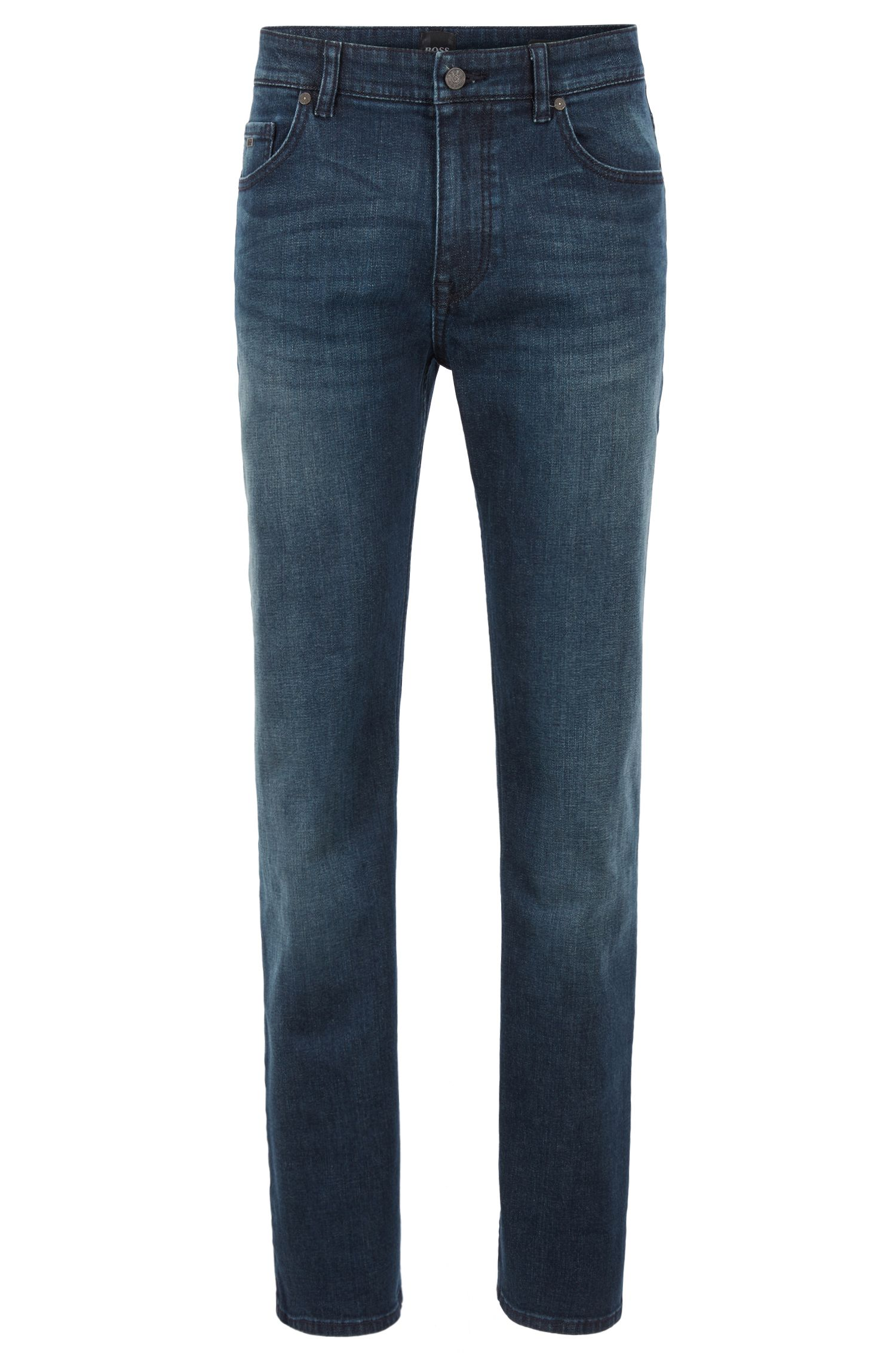Jeans relaxed fit in comodo denim elasticizzato green-cast, Blu scuro
