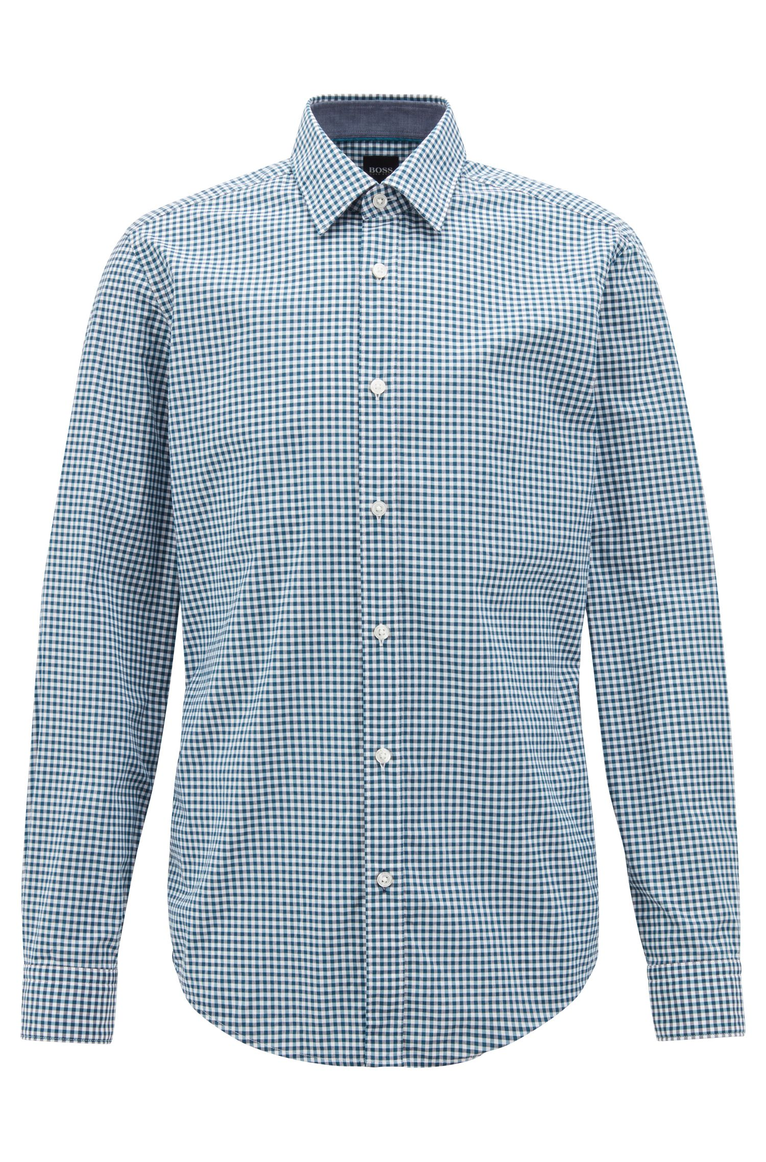 Regular-fit shirt in washed Vichy-check cotton, Turquoise