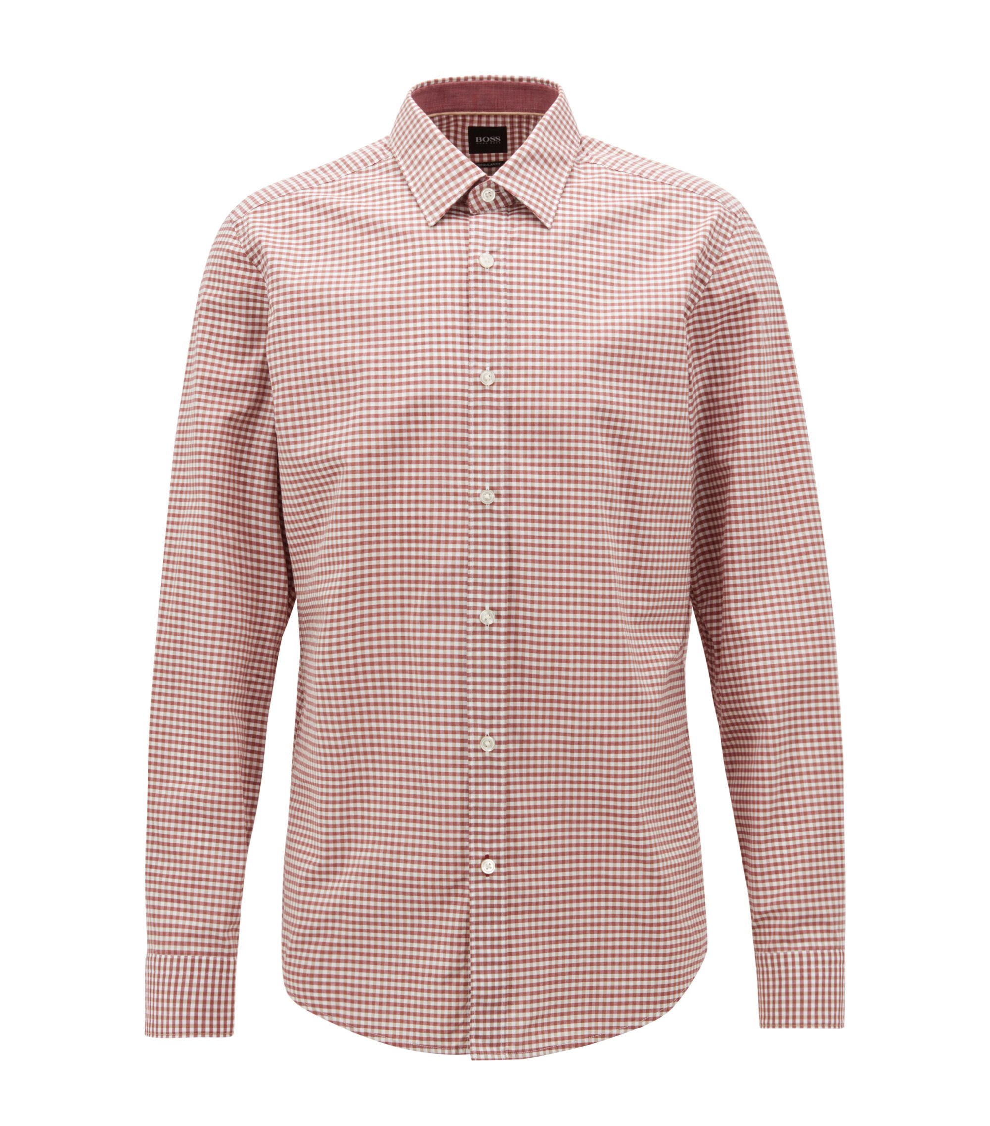 Regular-fit shirt in washed Vichy-check cotton, Dark Red