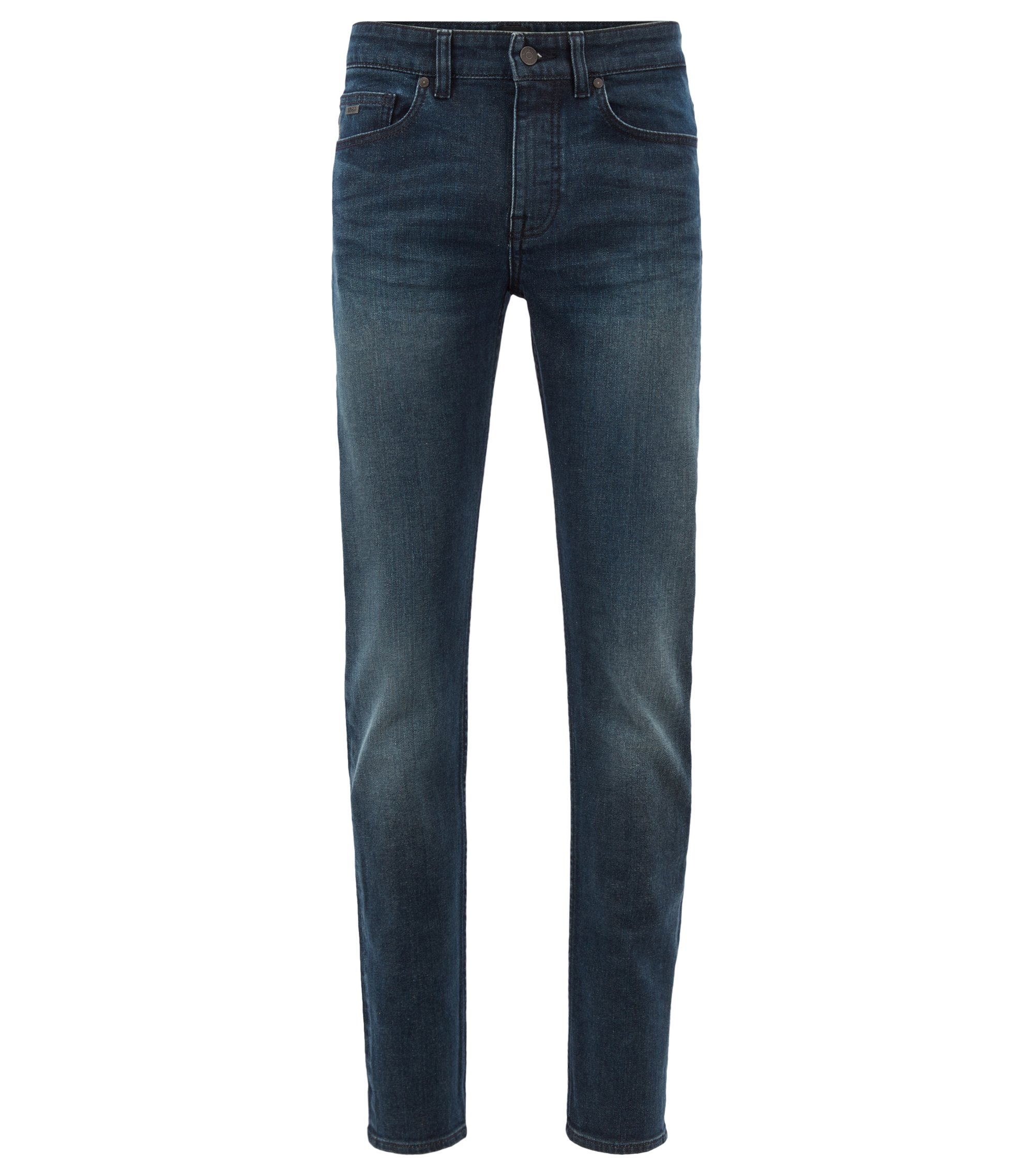 Jeans slim fit in comodo denim elasticizzato green-cast, Blu scuro