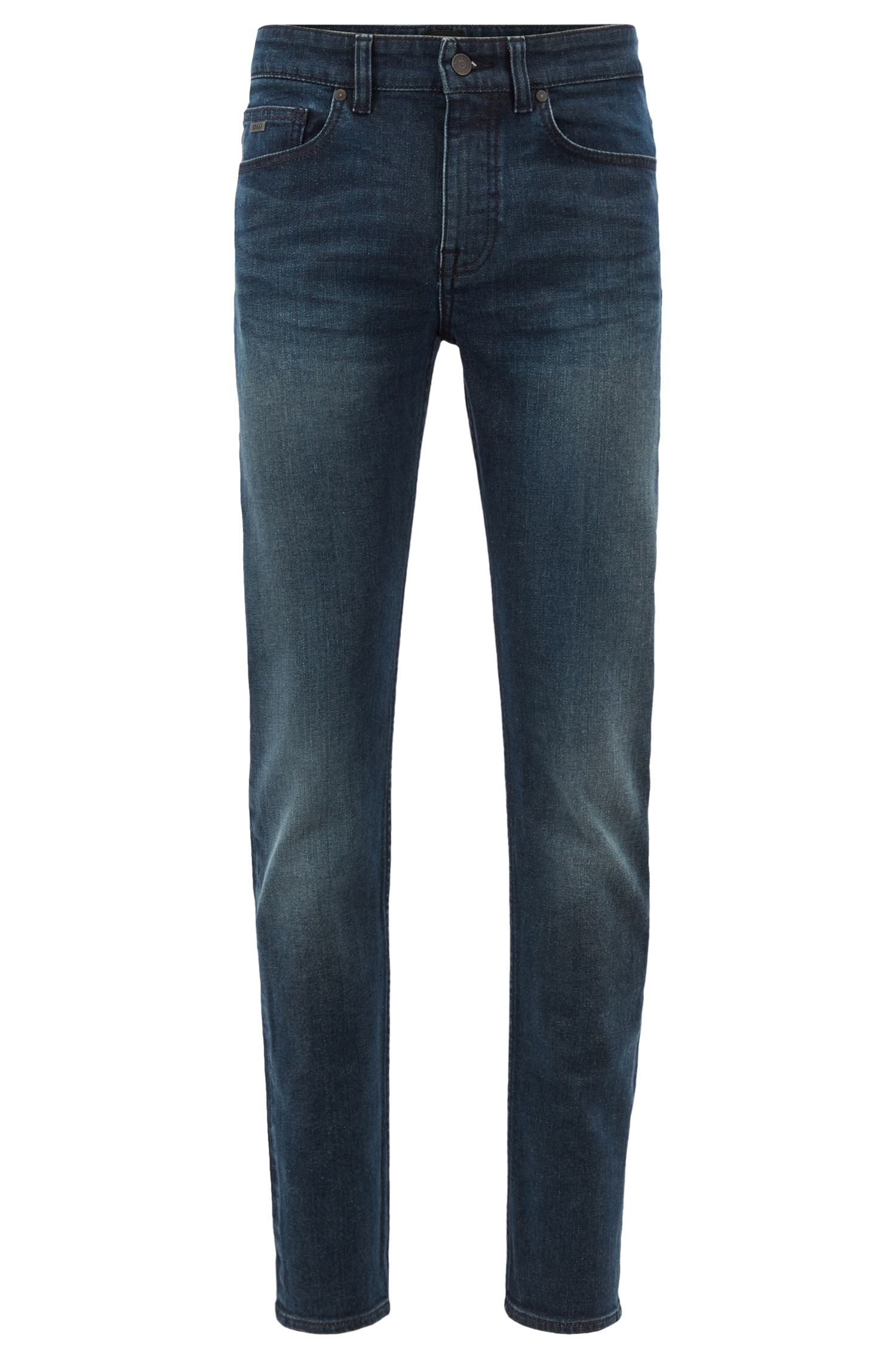 Jean Slim Fit en denim stretch confortable à la finition green cast, Bleu foncé