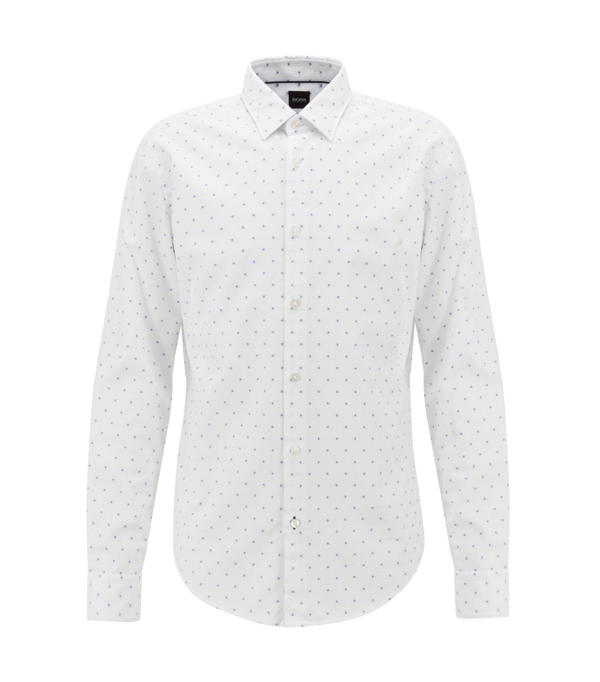 Camicia slim fit in cotone a spina di pesce con fil coupé, Bianco