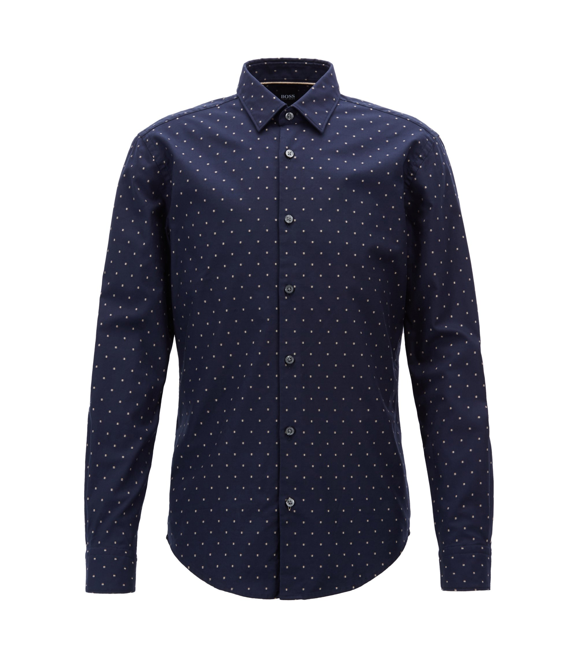 Slim-fit shirt in fil-coupé herringbone cotton, Blue