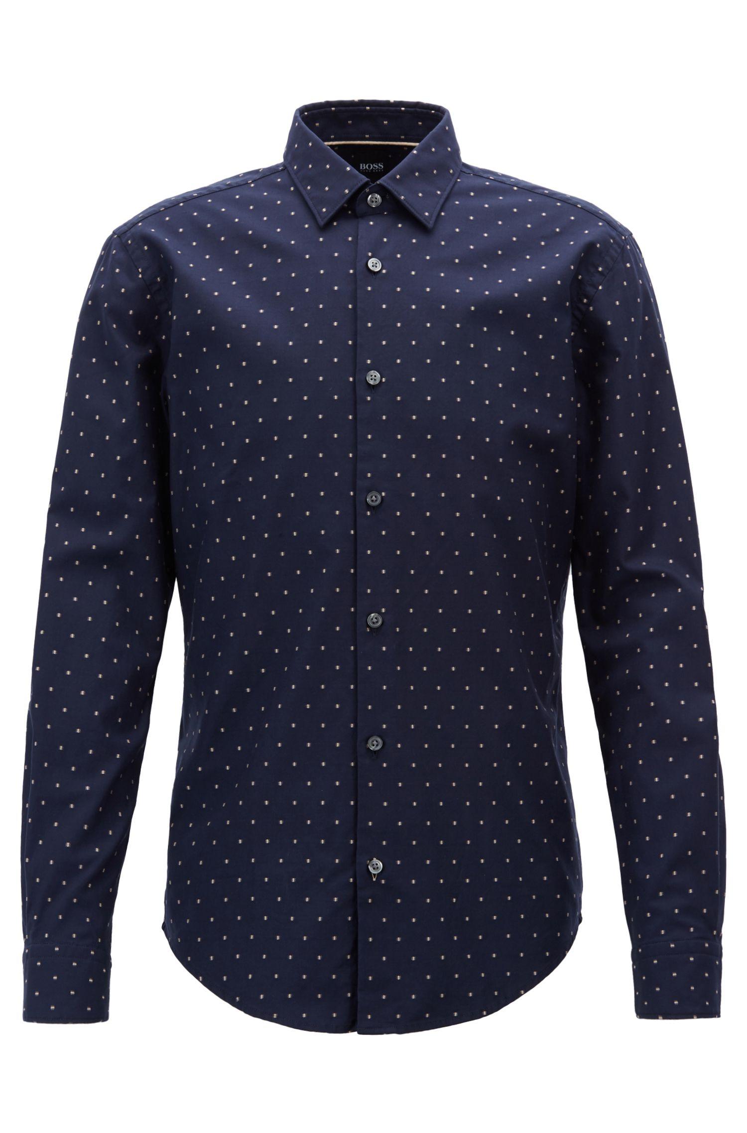 Slim-fit overhemd van katoen in fil coupé met visgraatdessin