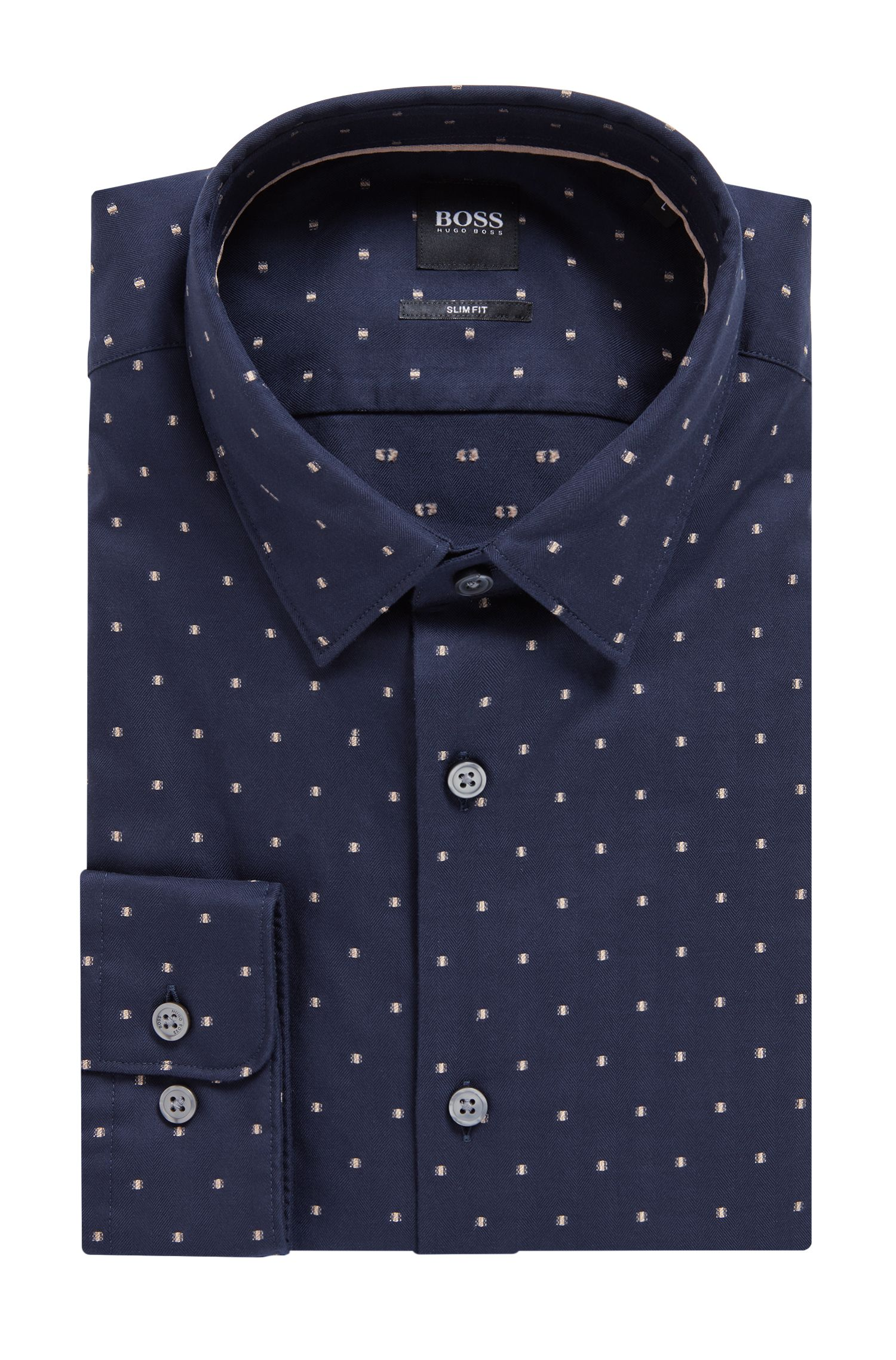 Camicia slim fit in cotone a spina di pesce con fil coupé, Blu