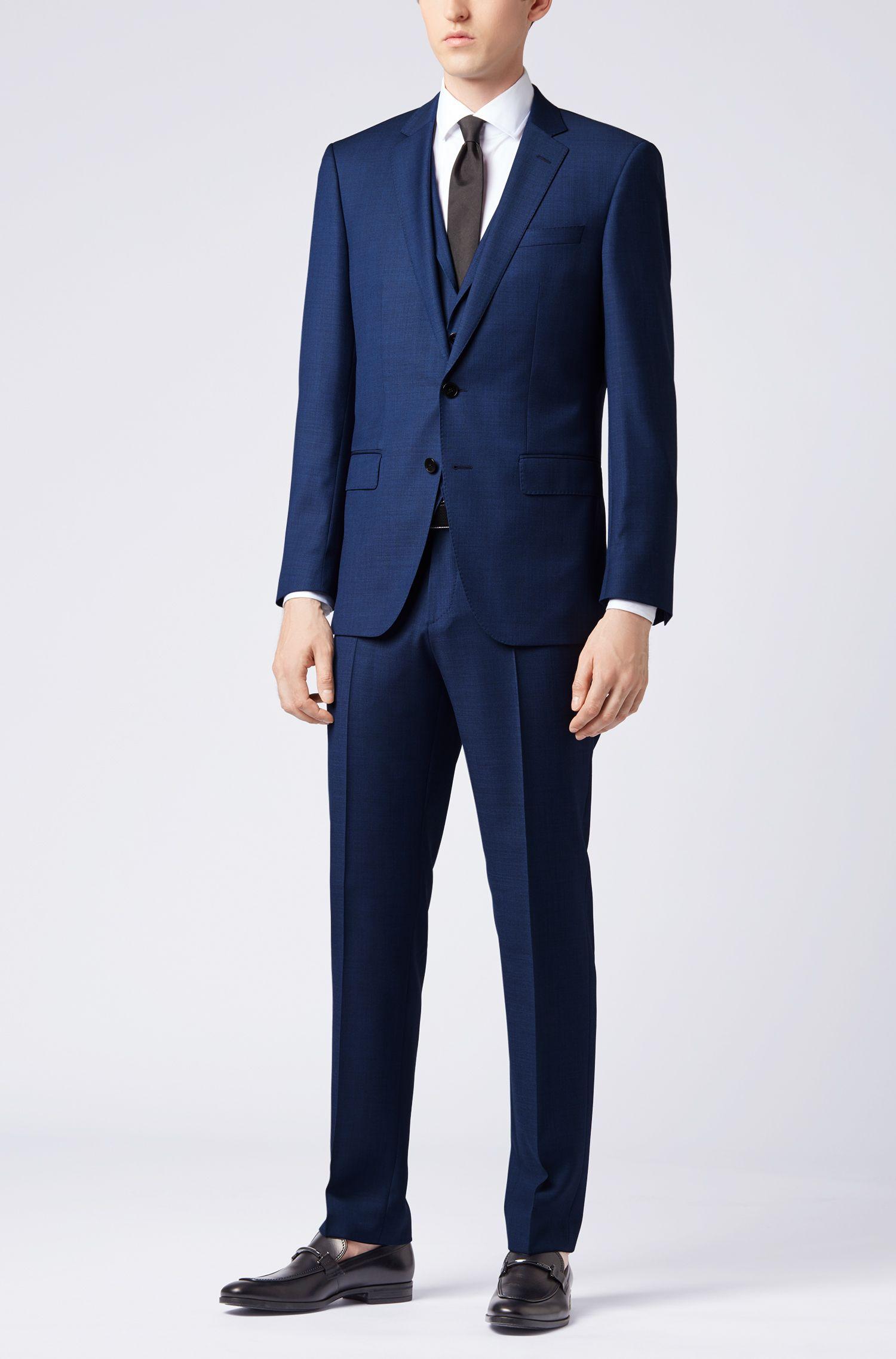 Costume trois pièces Slim Fit en sergé de laine vierge, Bleu foncé