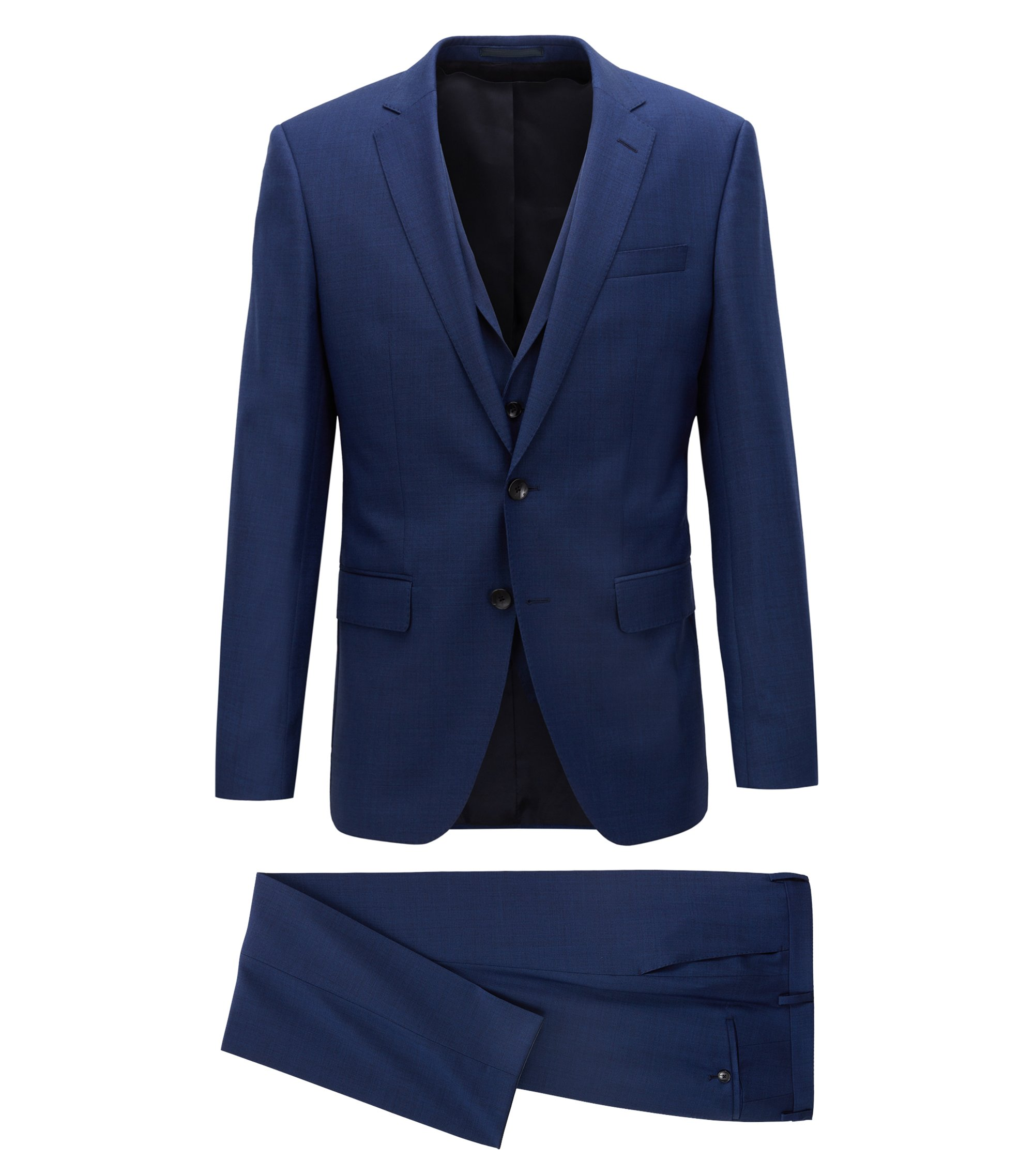 Three-piece slim-fit suit in virgin wool serge, Dark Blue