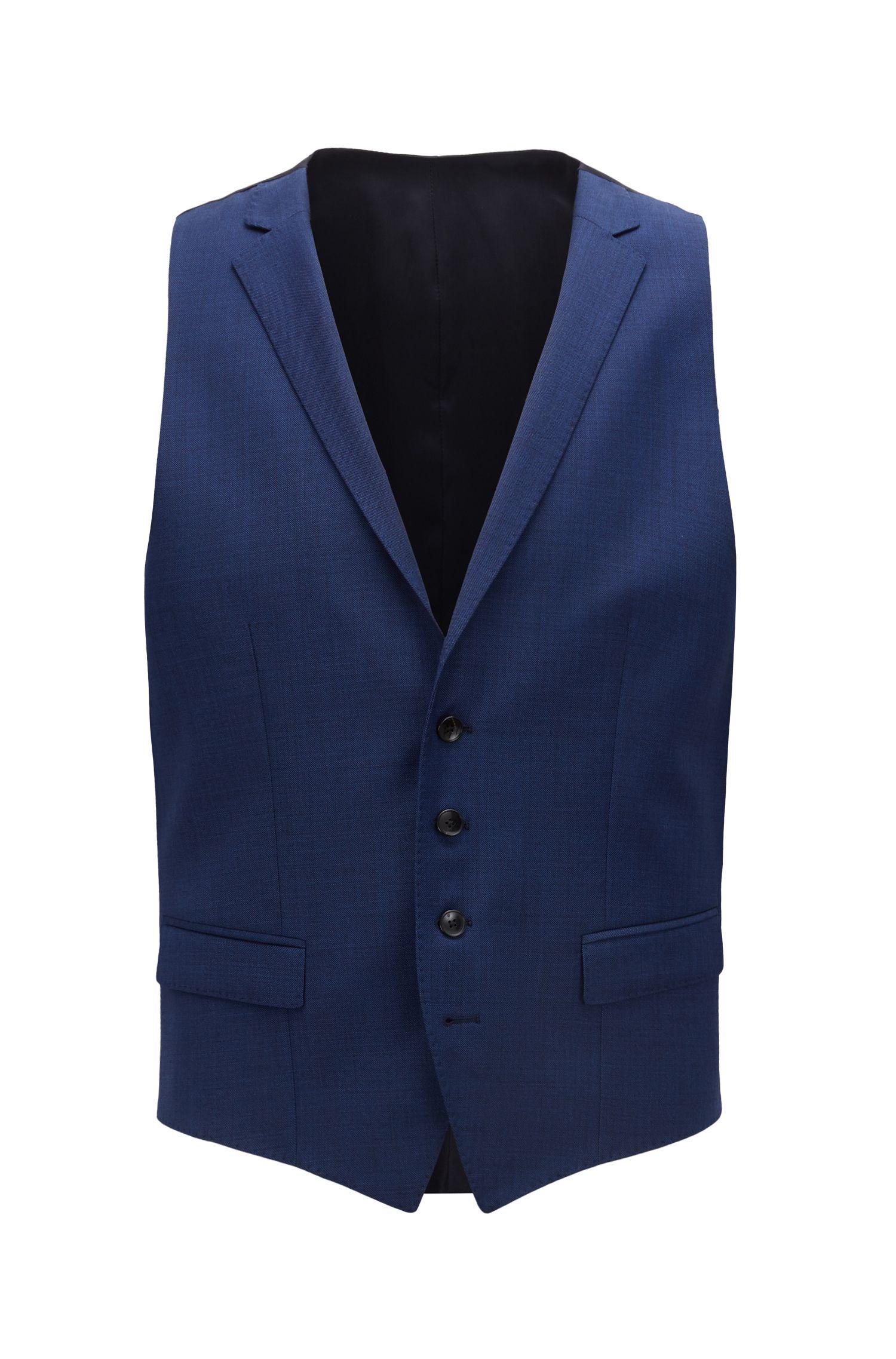 Three-piece slim-fit suit in virgin wool serge