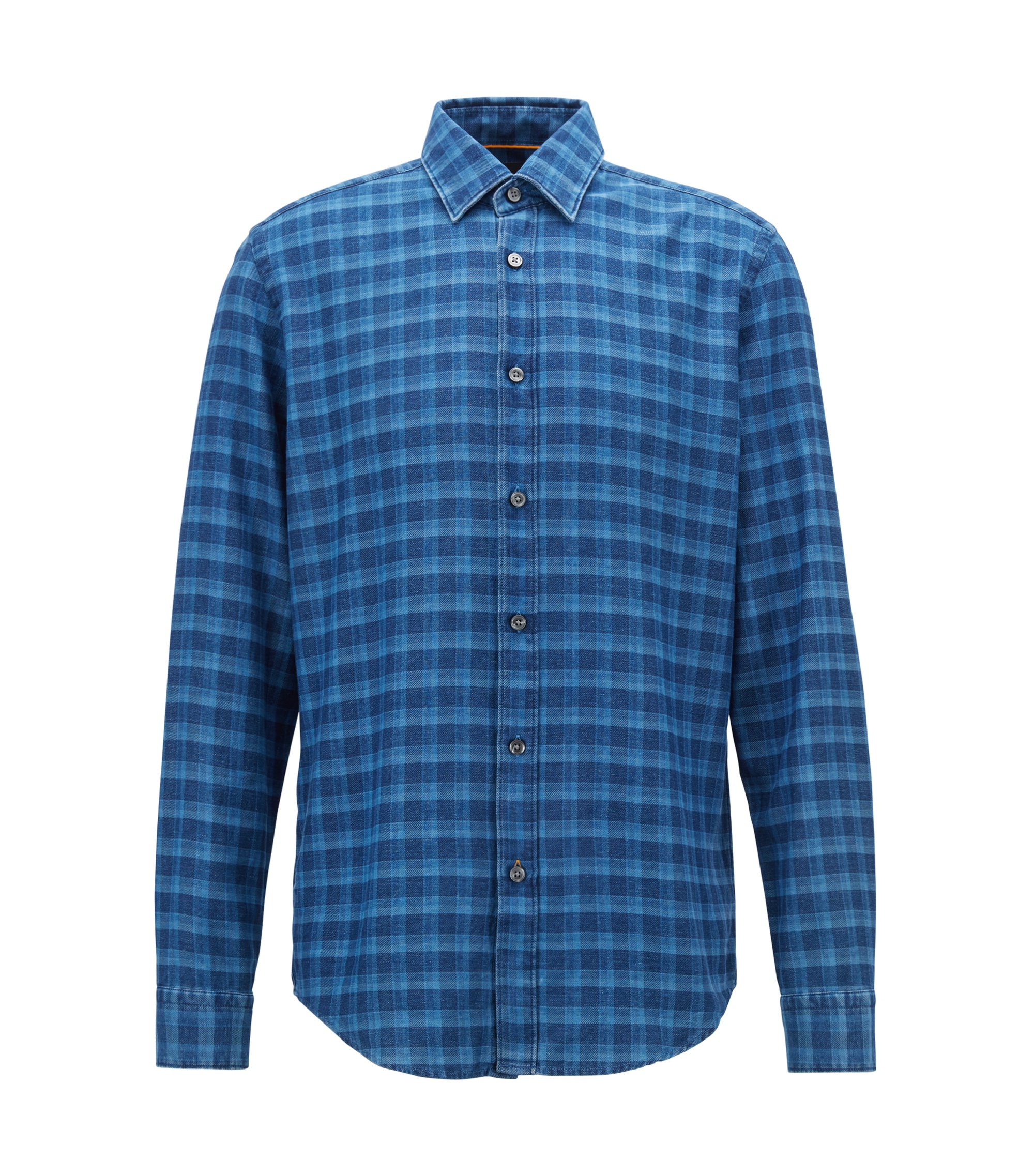 Camisa regular fit en franela de denim a cuadros, Azul
