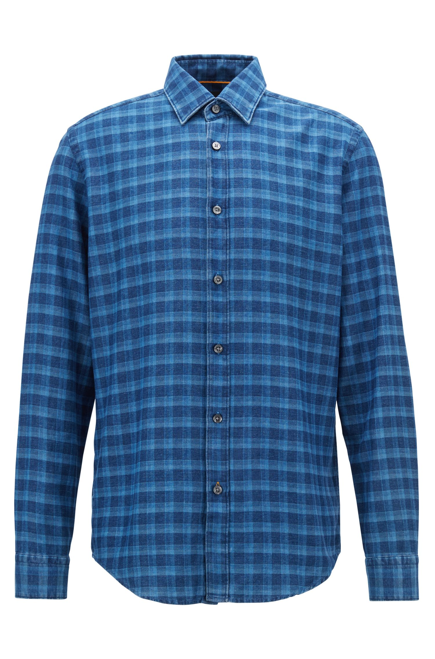 Regular-fit overhemd van geruite denim flanel