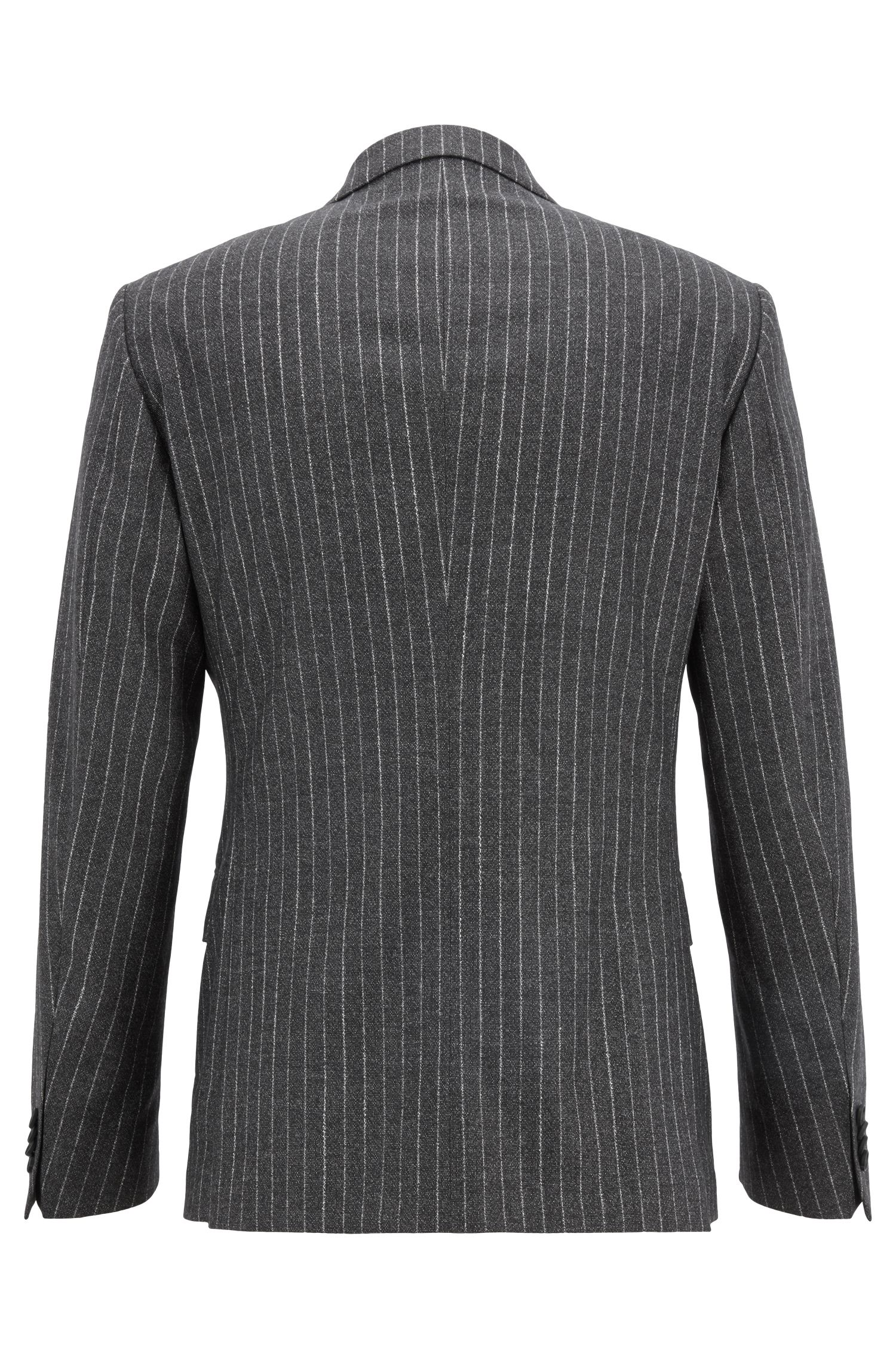 Costume croisé en laine vierge stretch à rayures tennis, Noir
