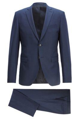 Traje extra slim fit en lana virgen con dibujo tejido, Azul oscuro