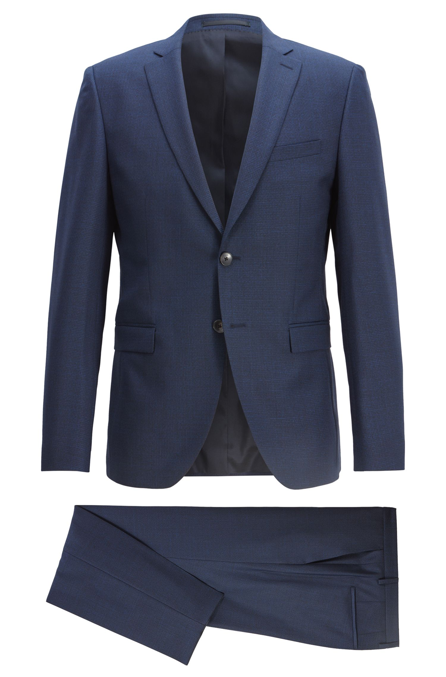 Extra-slim-fit virgin-wool suit with woven pattern, Dark Blue