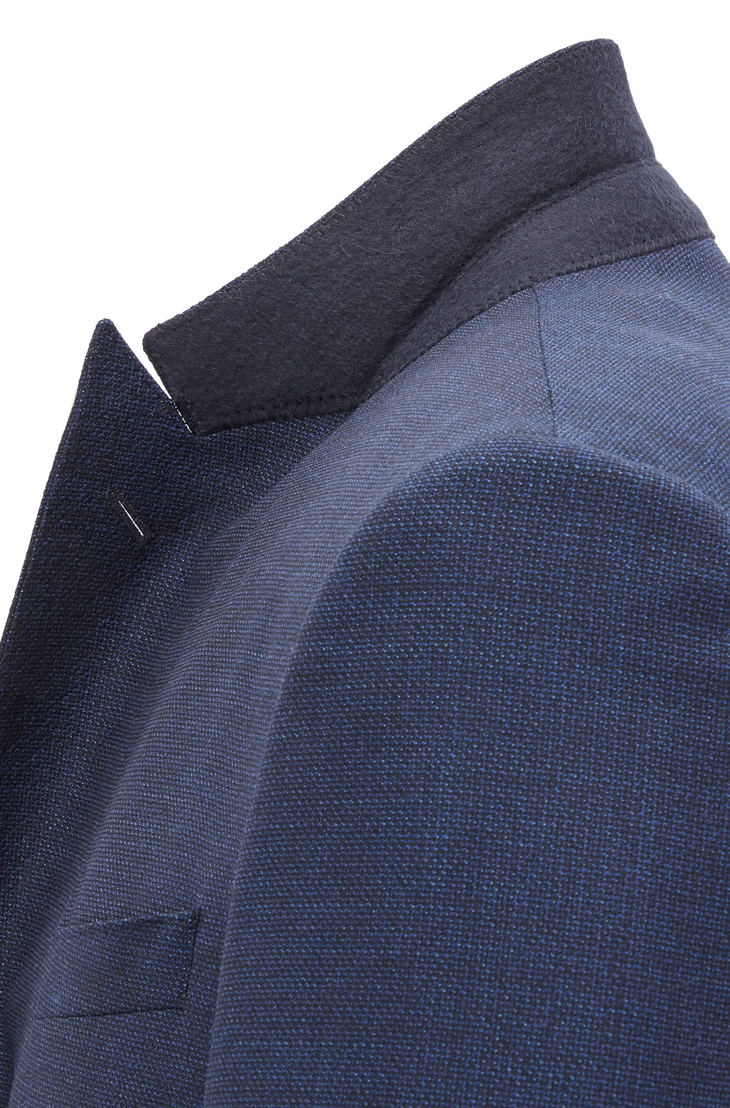 Slim-fit suit in patterned virgin-wool serge
