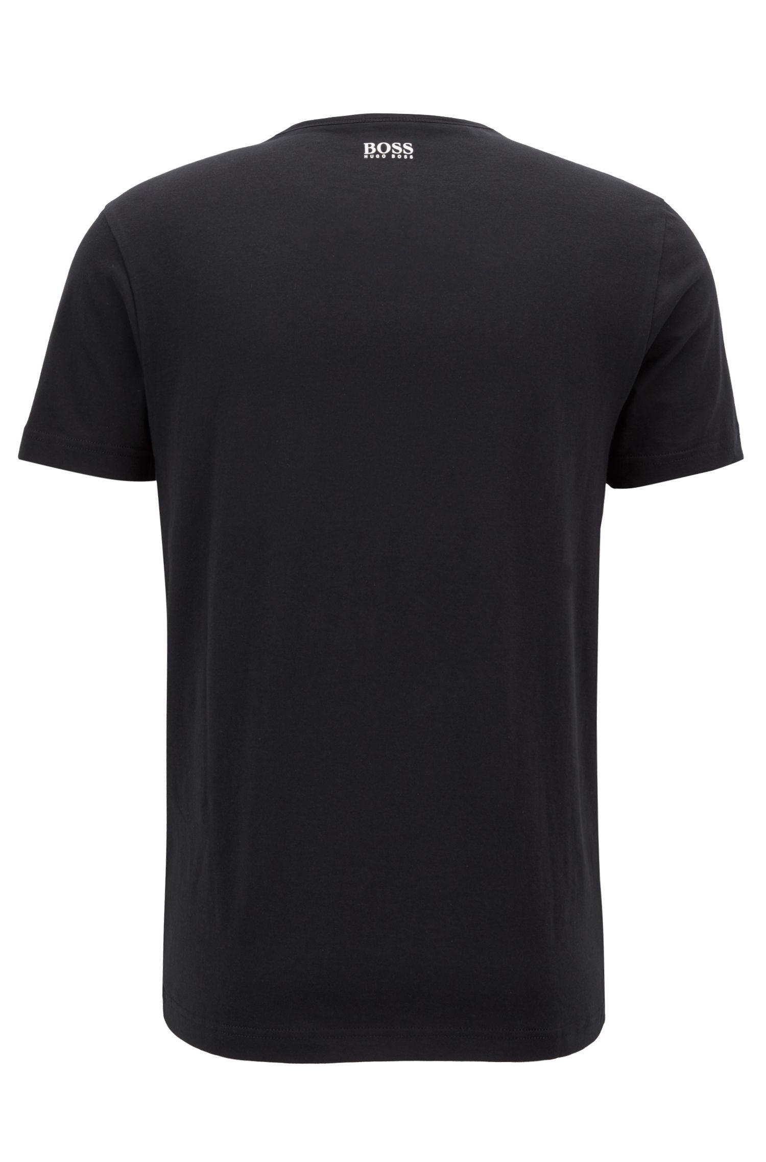 T-shirt à manches courtes en coton à logo graphique imprimé, Noir