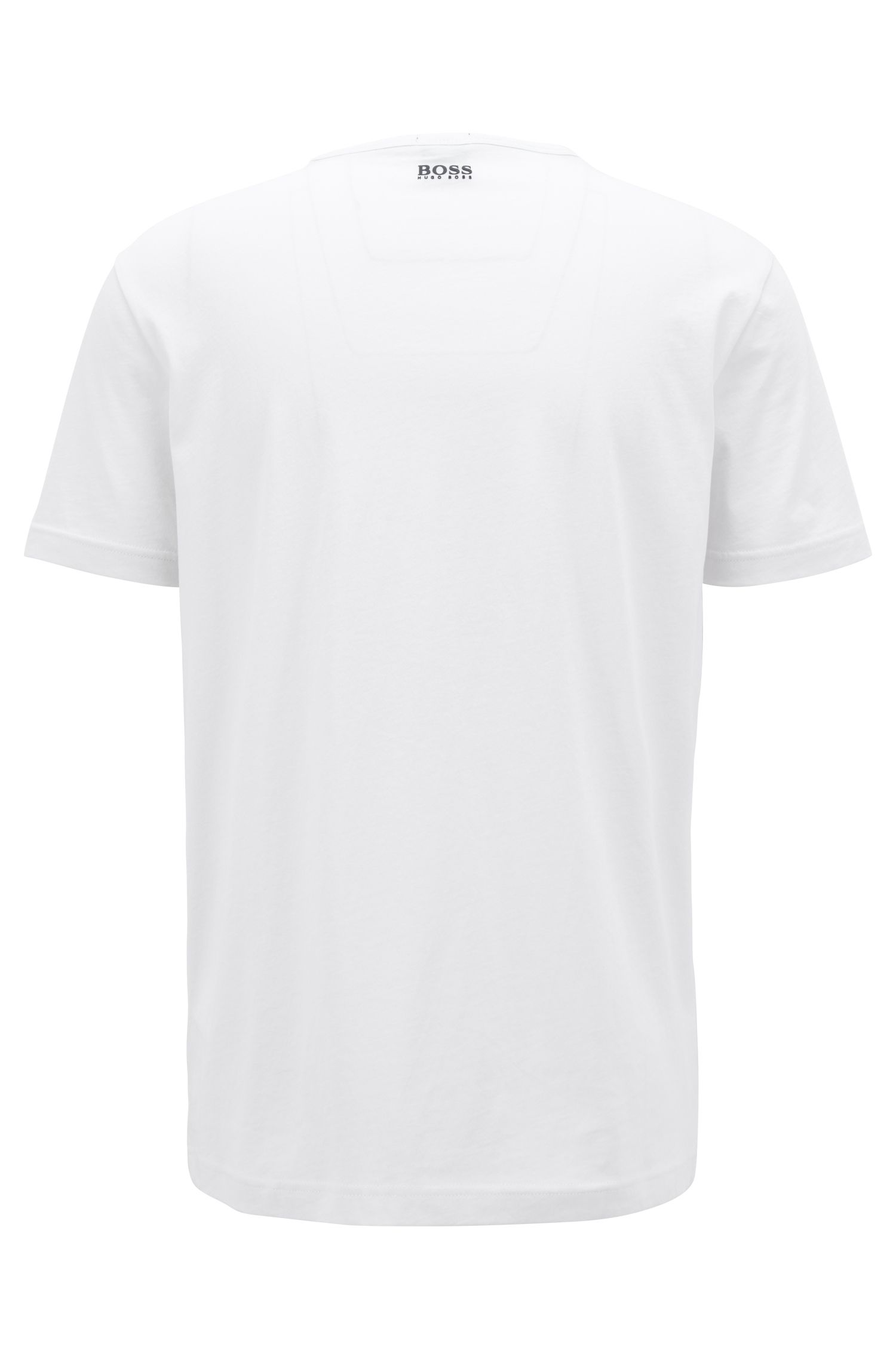 Short-sleeved T-shirt in cotton with graphic logo print, White