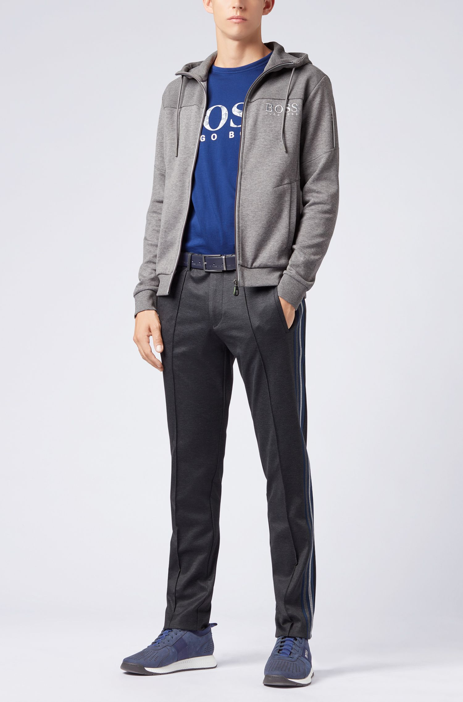 Camiseta de manga corta en algodón con logo gráfico estampado, Azul