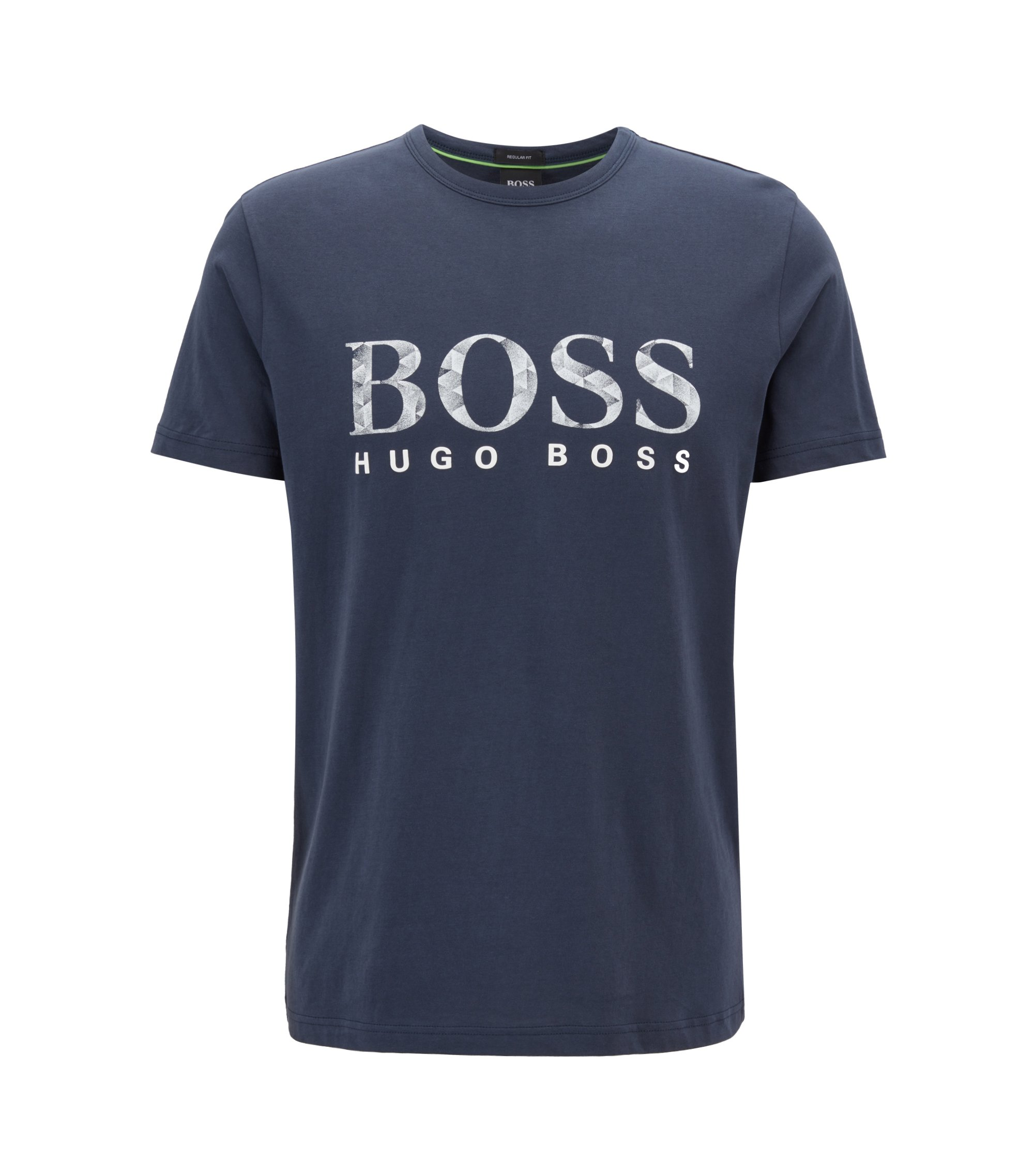 Camiseta de manga corta en algodón con logo gráfico estampado, Azul oscuro