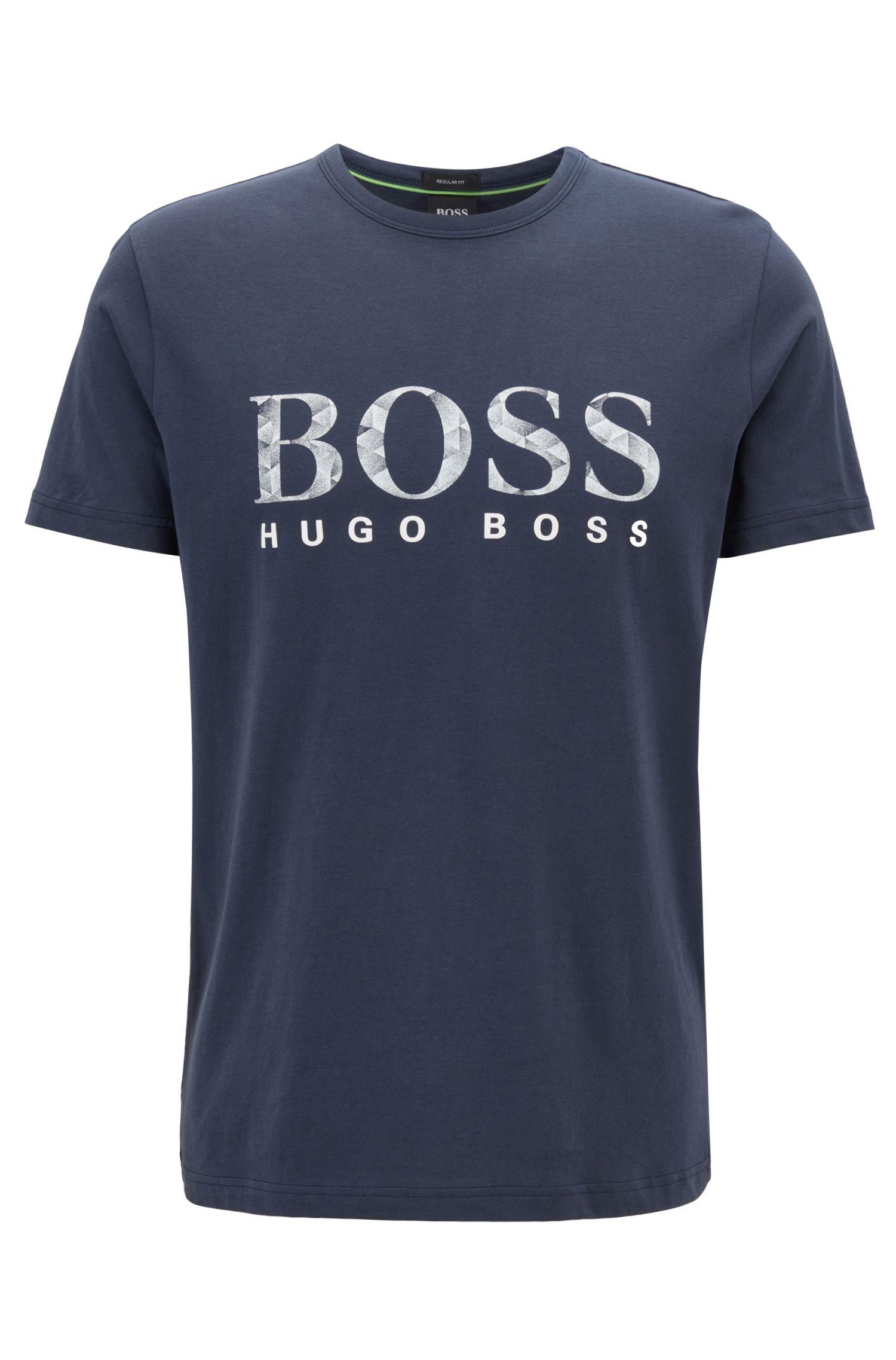 T-shirt a maniche corte in cotone con logo stampato, Blu scuro