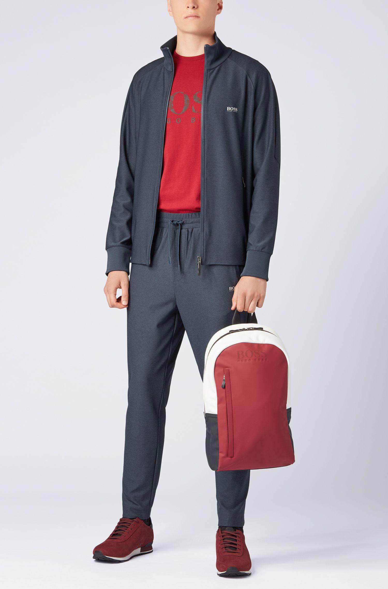 Camiseta de manga corta en algodón con logo gráfico estampado, Rojo