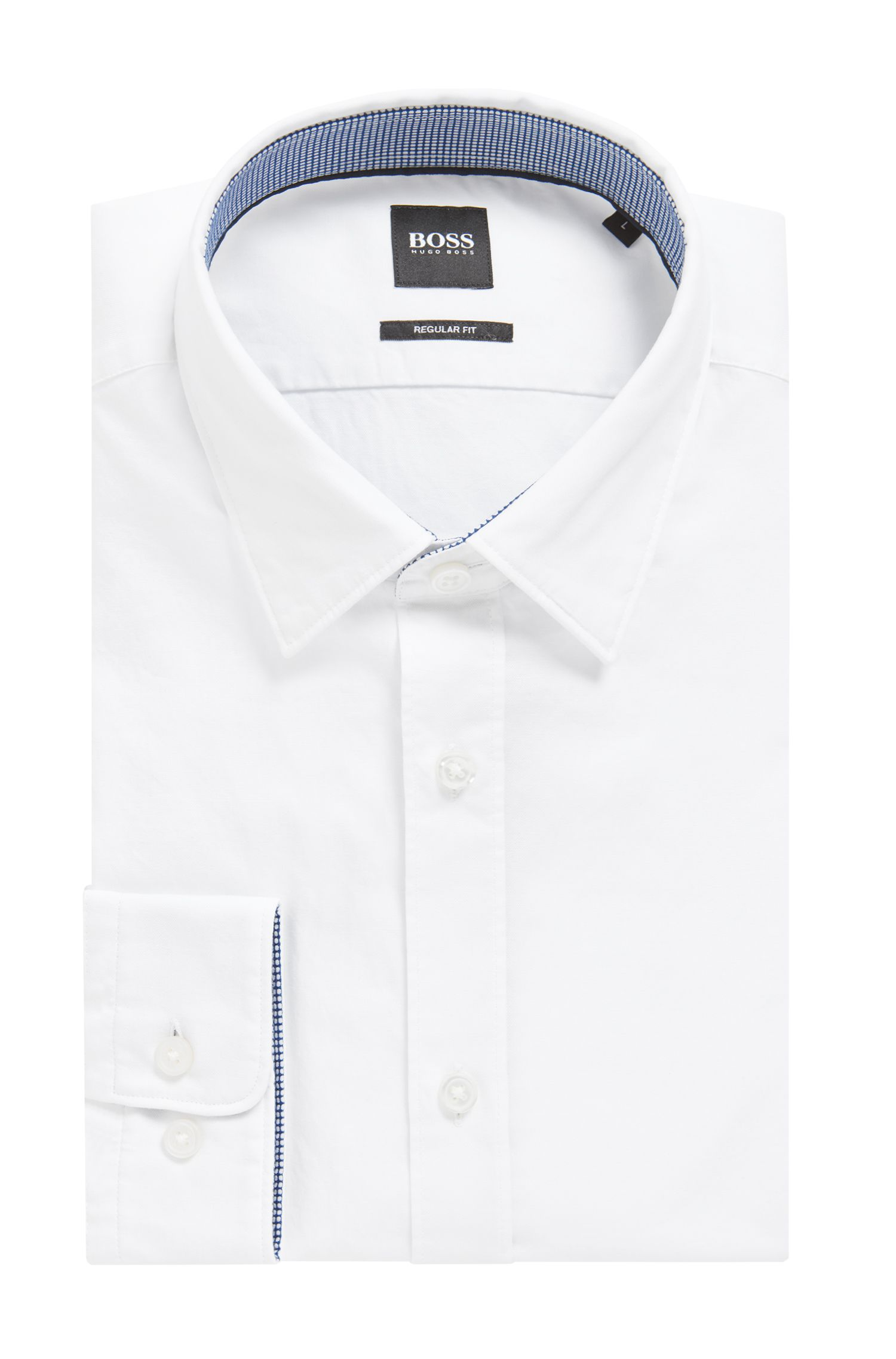 Slim-fit Oxford shirt in mercerised cotton, White