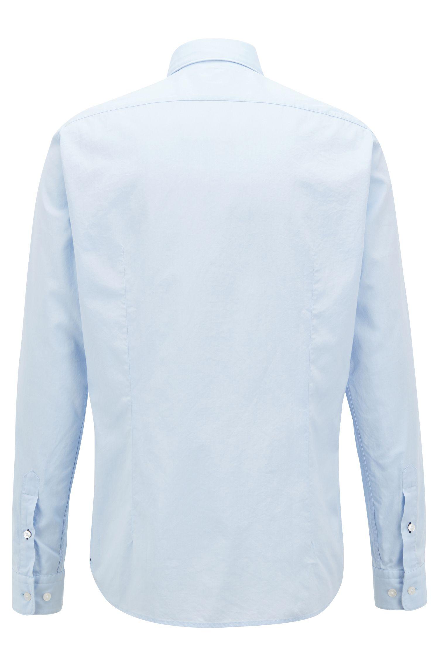 Slim-fit Oxfordoverhemd van gemerceriseerde katoen, Lichtblauw