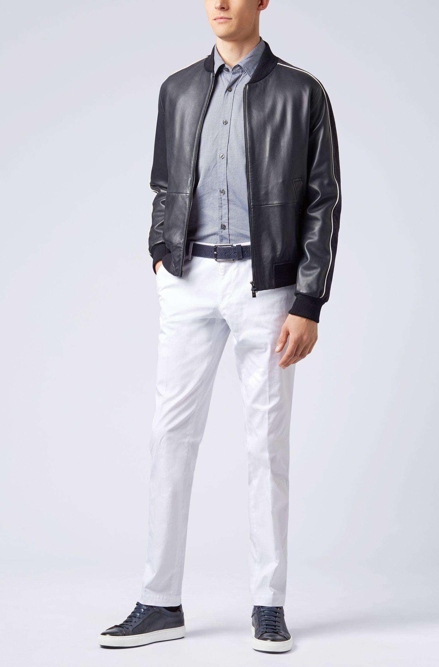 Slim-fit Oxford shirt in mercerised cotton, Dark Blue