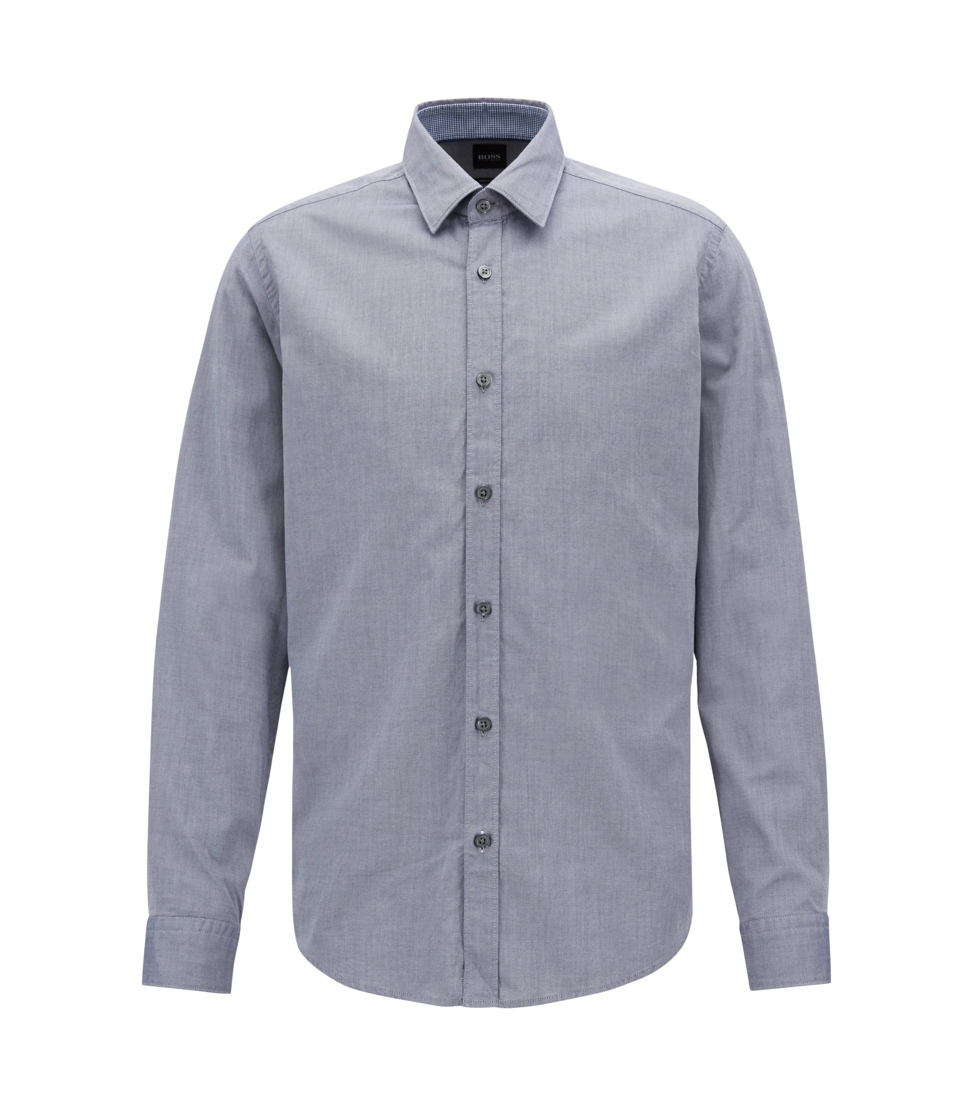 Camicia stile oxford slim fit in cotone mercerizzato, Blue Scuro