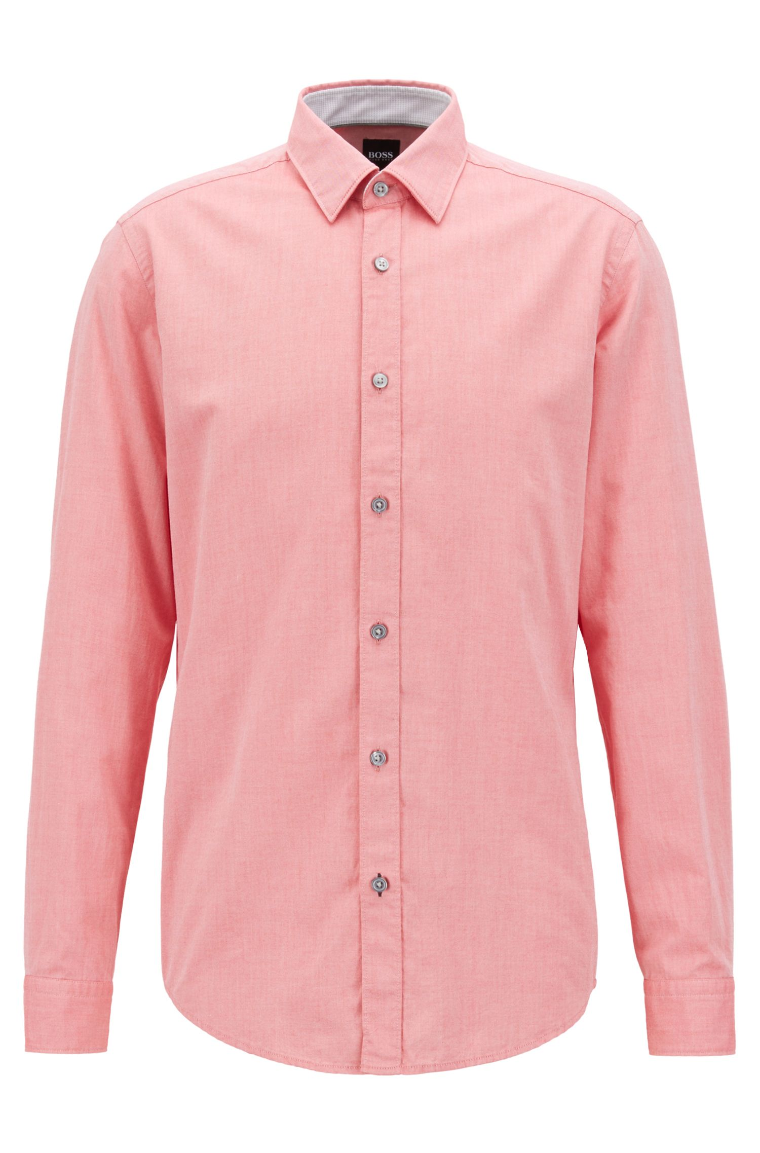 Slim-fit Oxford shirt in mercerised cotton, Red