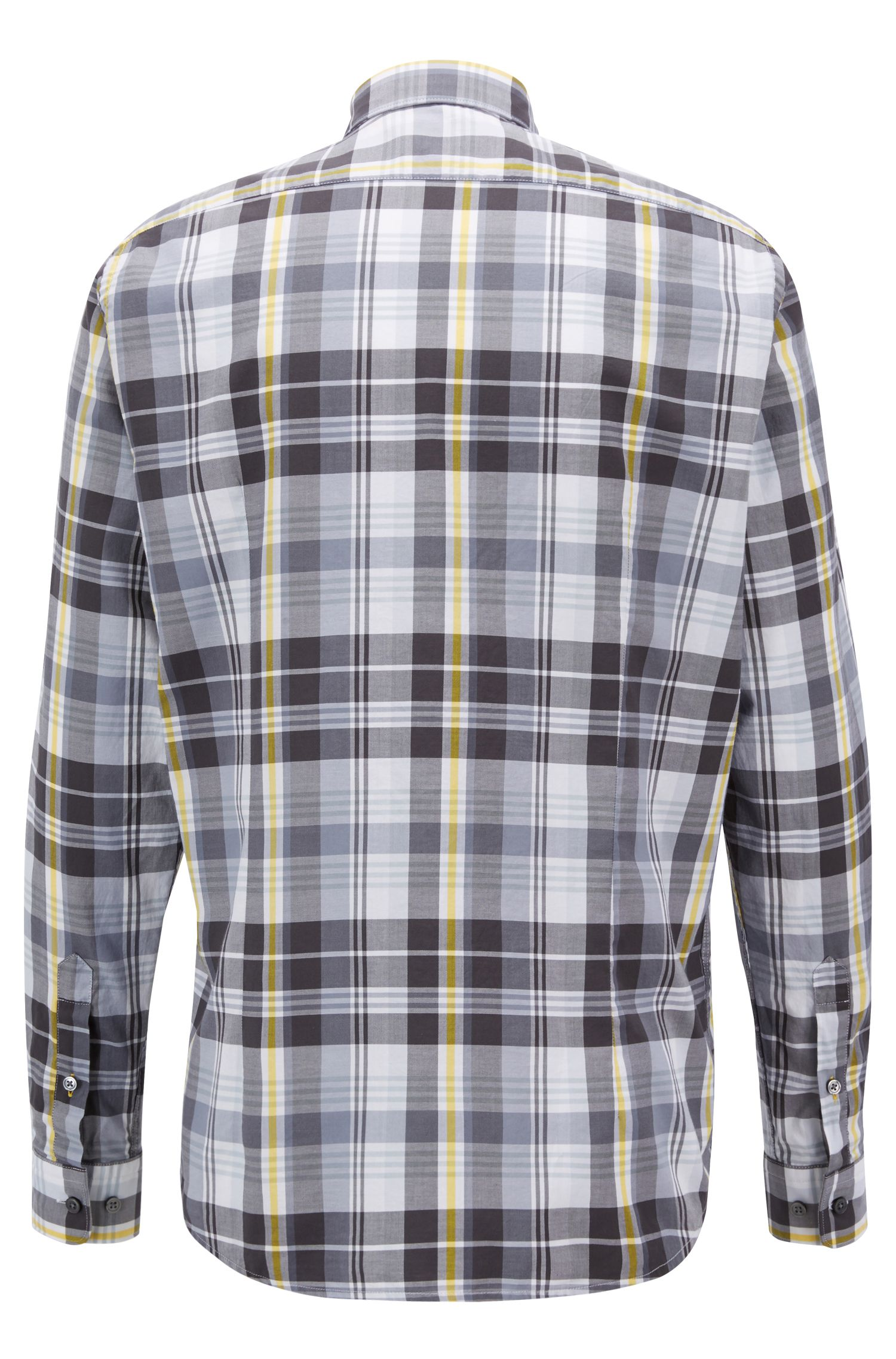 Regular-fit shirt in checked cotton twill, Dark Grey
