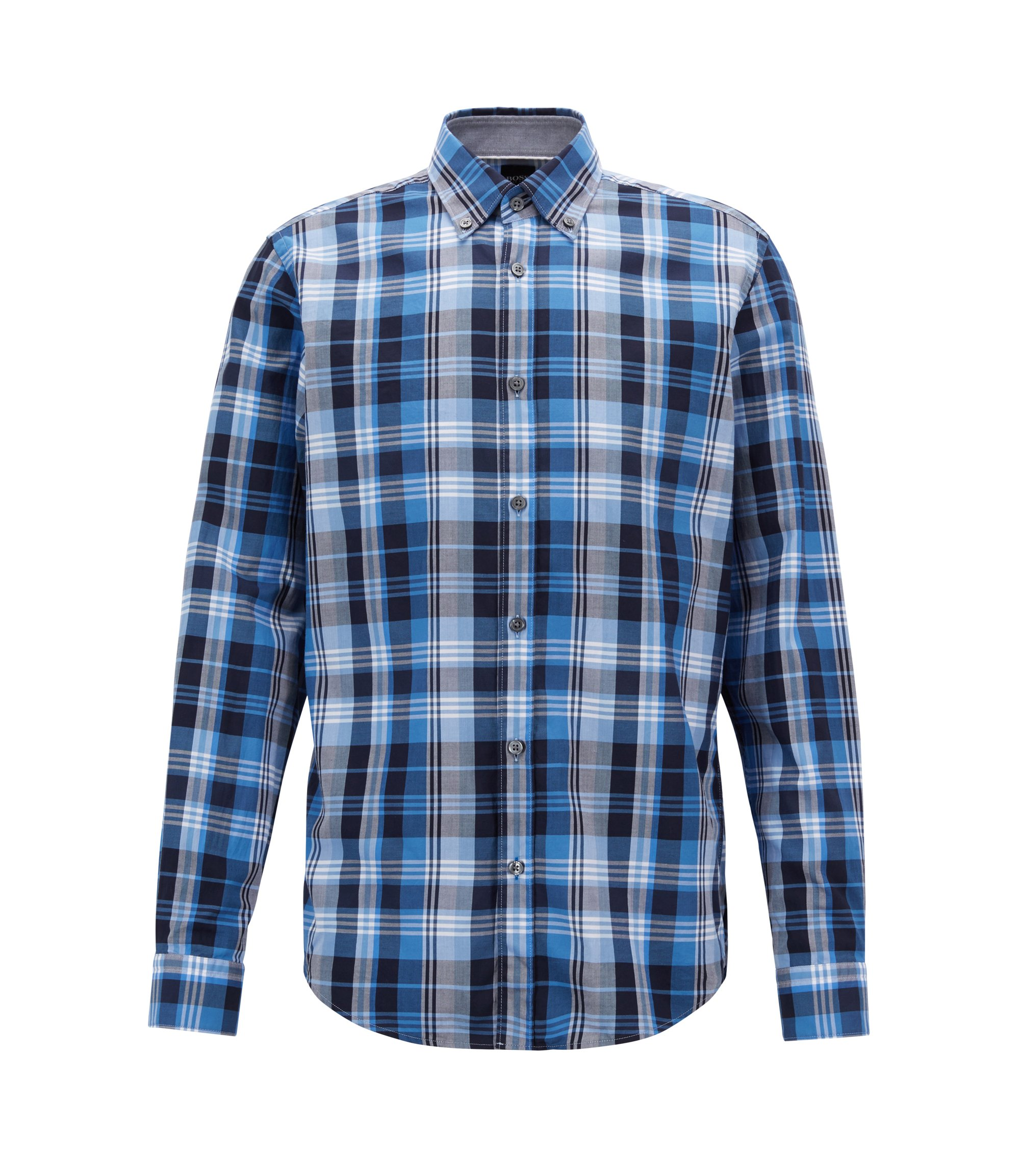 Camicia regular fit in twill di cotone a quadri, Blue Scuro