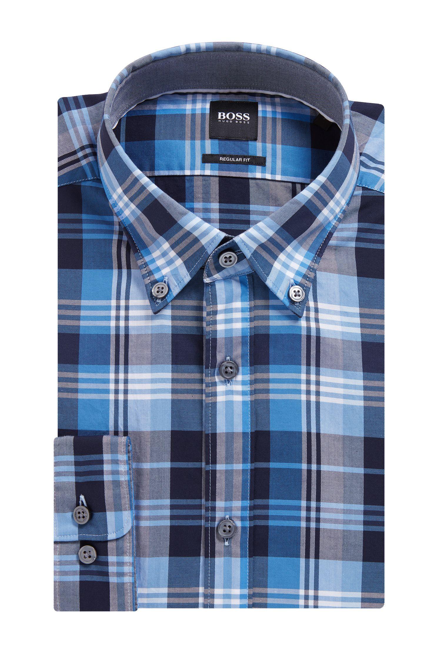 Camicia regular fit in twill di cotone a quadri, Blue Scuro