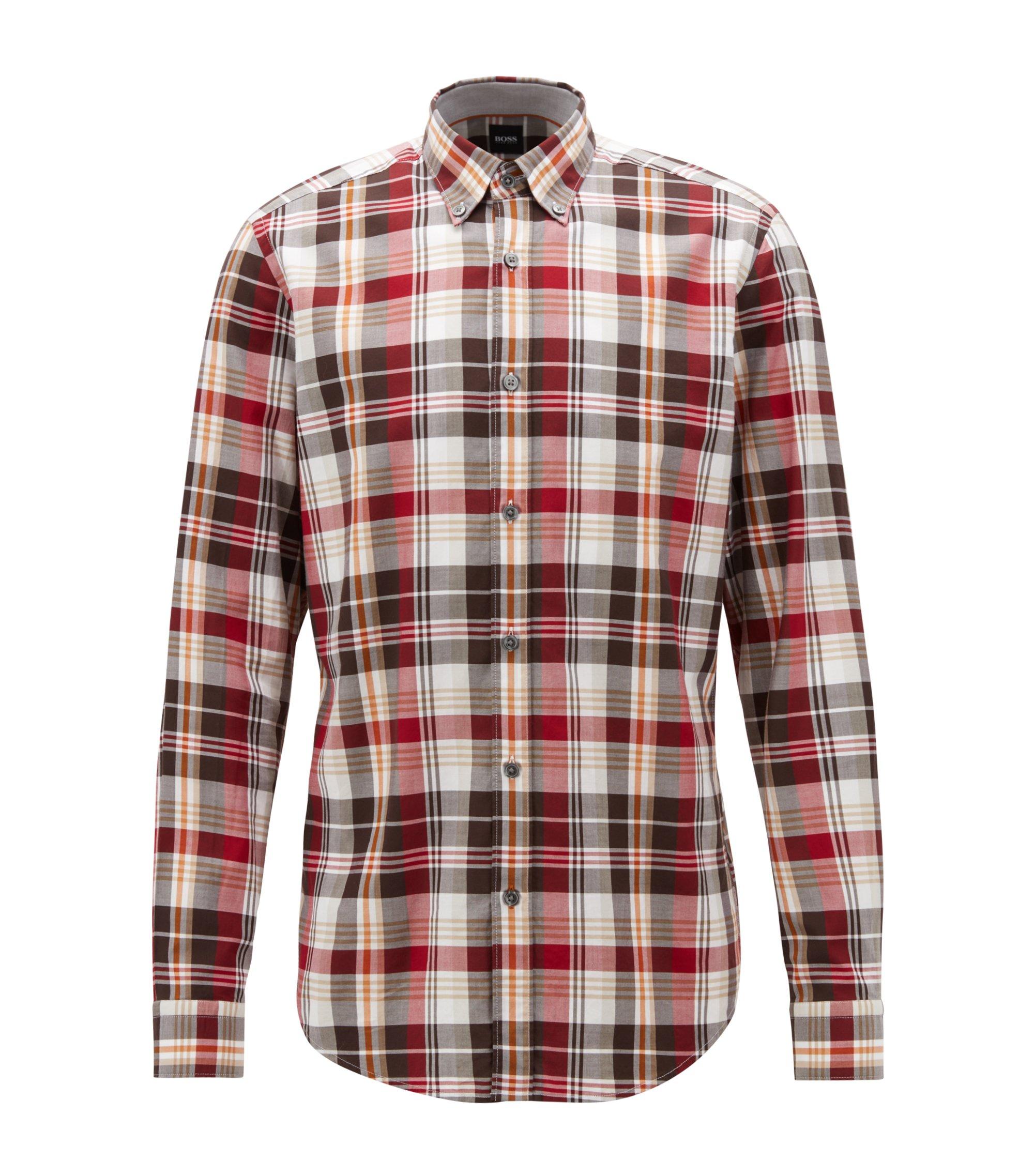 Chemise Regular Fit en sergé de coton à carreaux, Rouge sombre