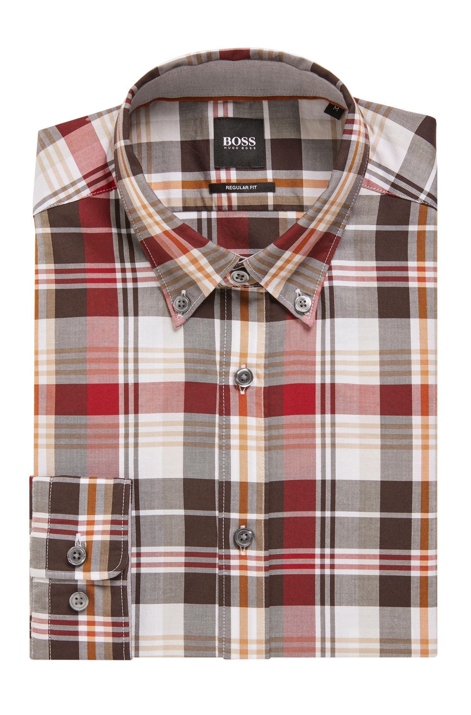 Regular-fit shirt in checked cotton twill, Dark Red