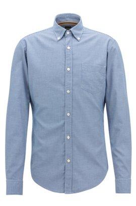 c872c832cc60 Slim-Fit Hemd aus strukturierter Baumwolle mit Mikro-Muster, Dunkelblau