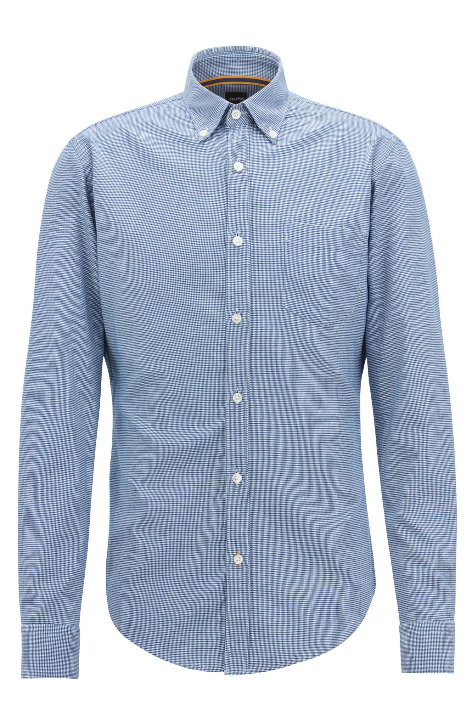 Slim-fit overhemd van dobbykatoen met microdessin, Donkerblauw