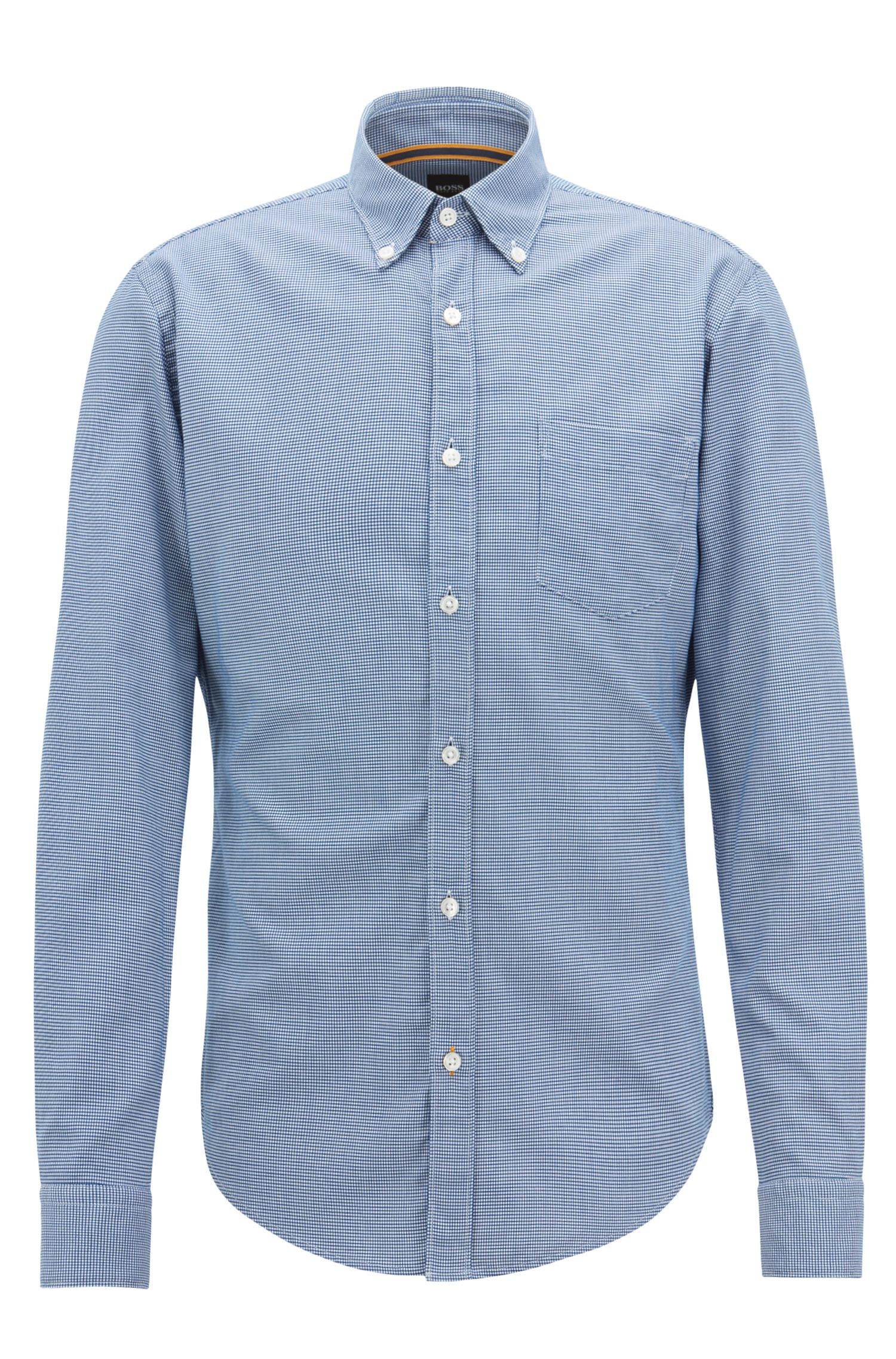 Slim-fit shirt in micro-patterned dobby cotton, Dark Blue
