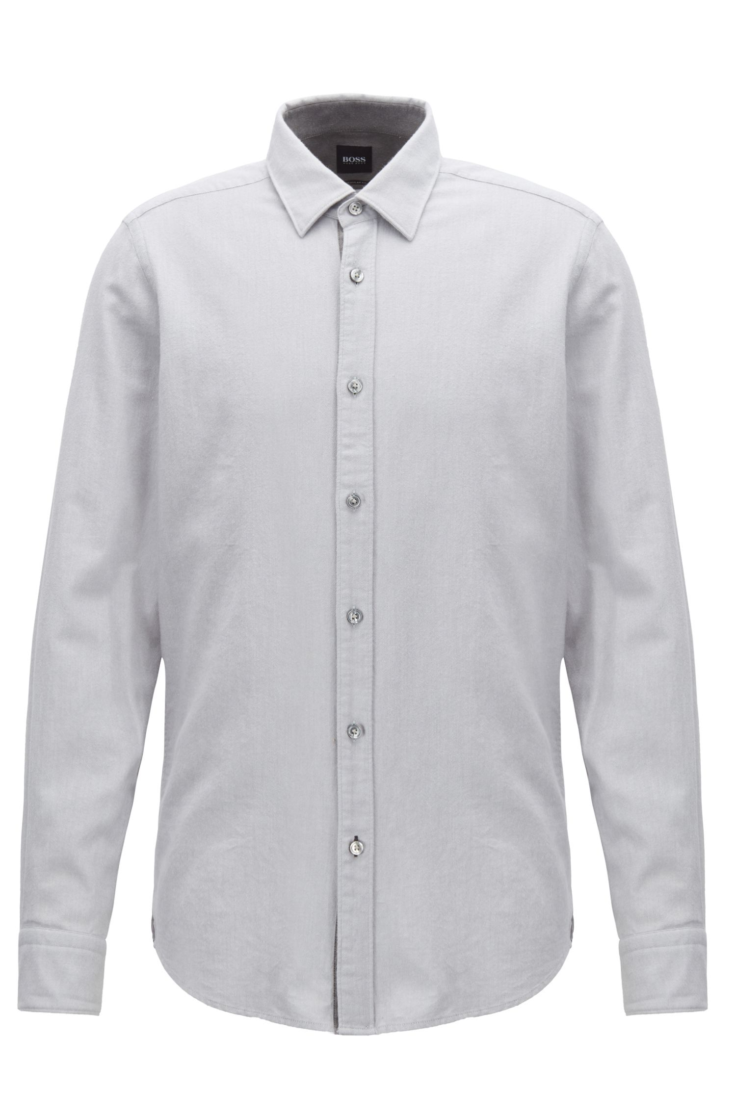 Regular-fit shirt in exclusive cotton flannel, Silver