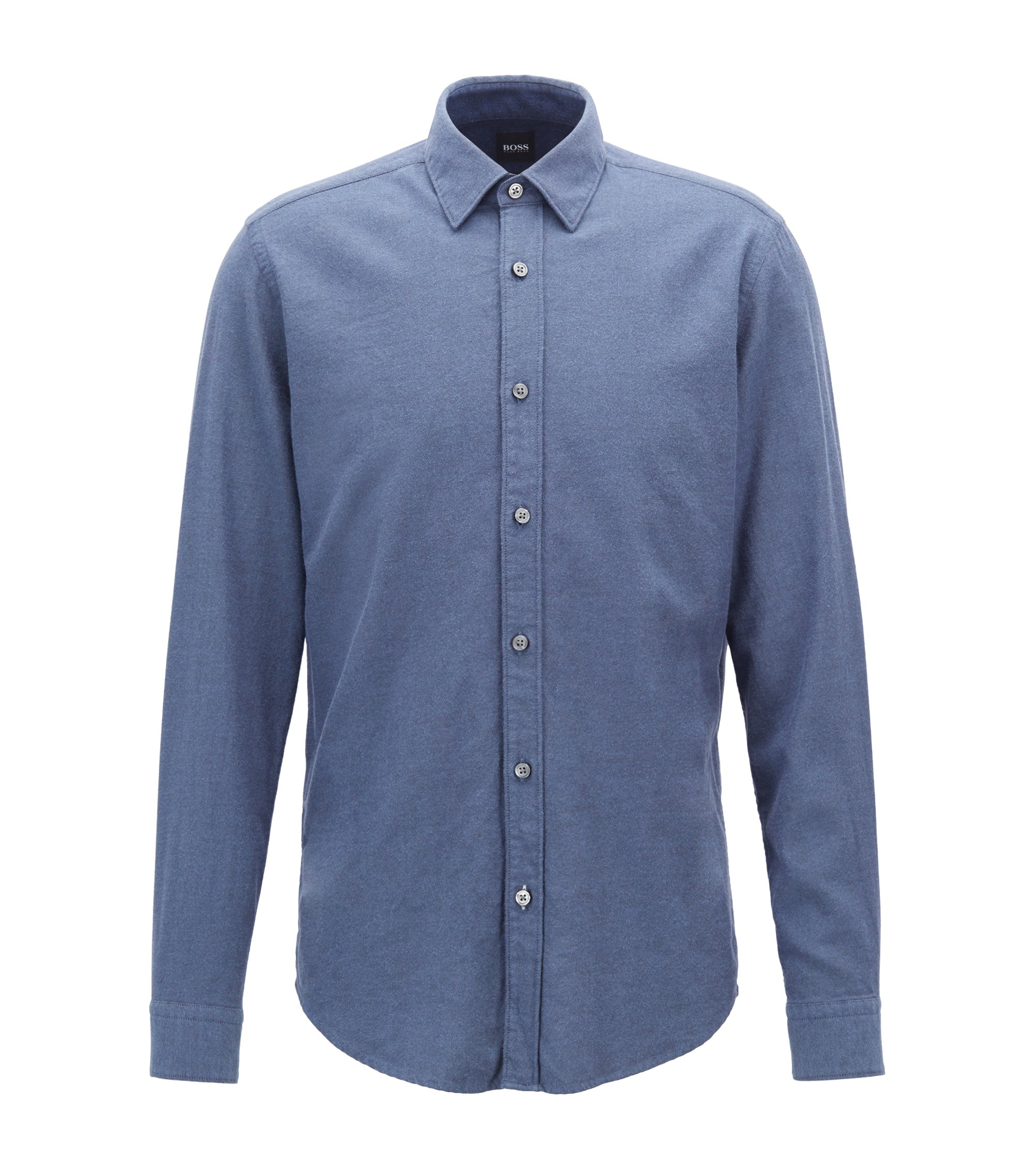 Regular-fit shirt in exclusive cotton flannel, Dark Blue