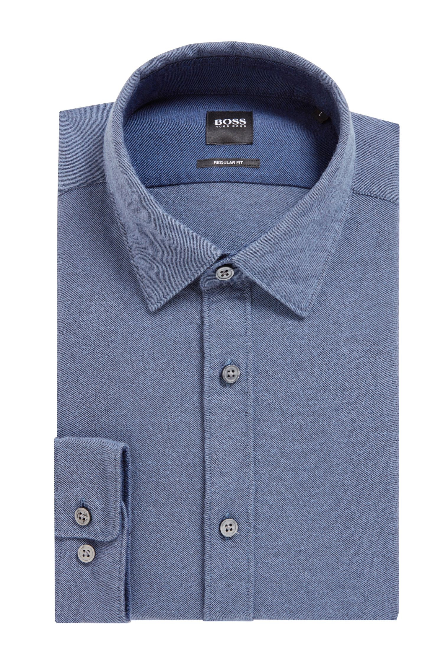 Regular-Fit Hemd aus exklusivem Baumwoll-Flanell, Dunkelblau